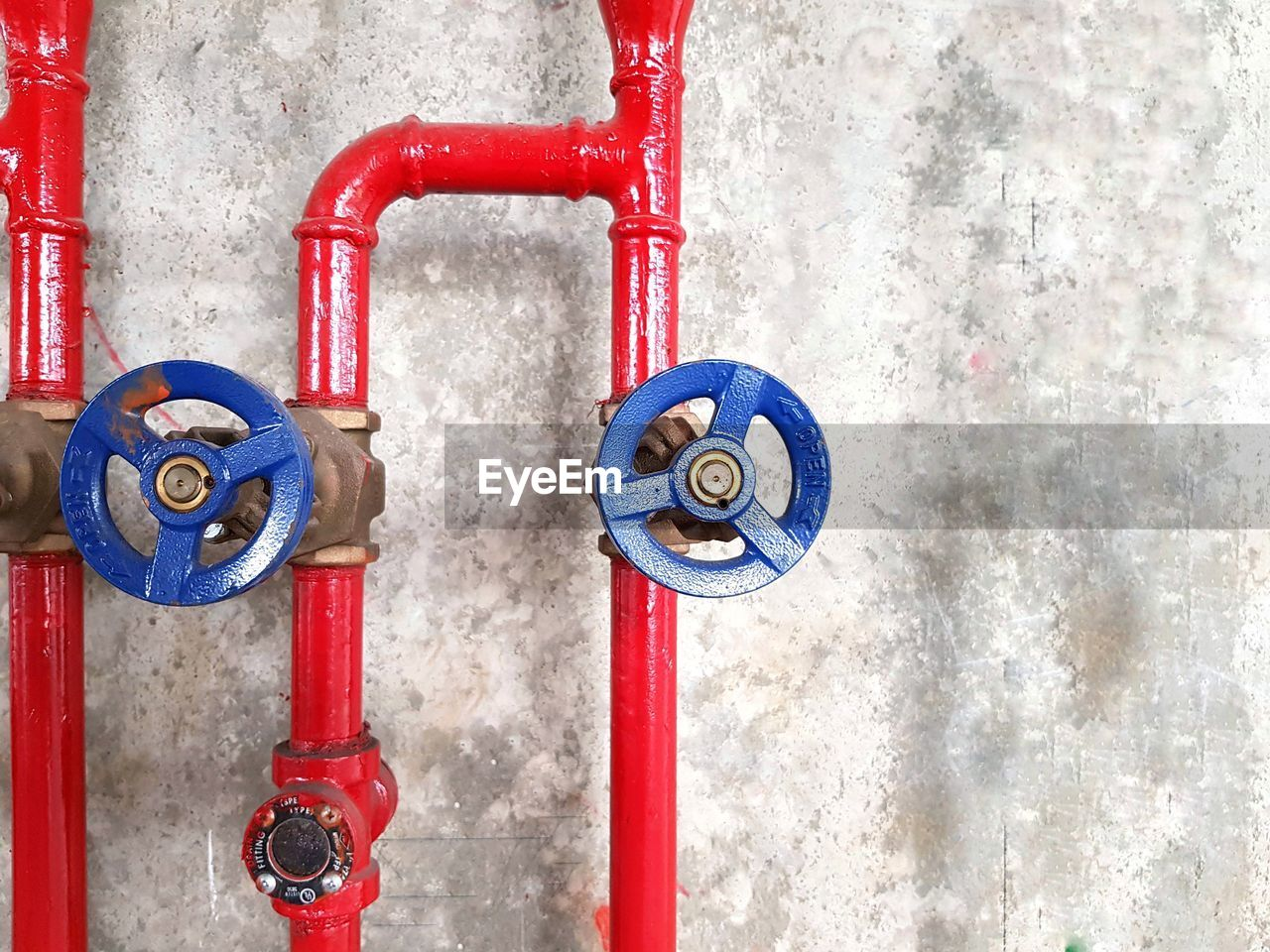 metal, red, valve, no people, pipe - tube, wall - building feature, close-up, machine valve, day, protection, security, safety, connection, equipment, shape, fire hydrant, indoors, control, circle