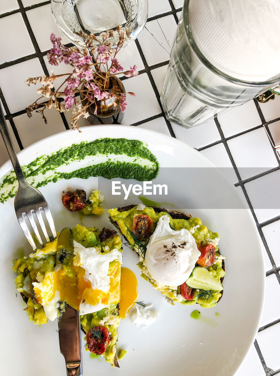 food, food and drink, freshness, indoors, ready-to-eat, healthy eating, still life, plate, table, vegetable, no people, high angle view, serving size, wellbeing, salad, close-up, kitchen utensil, eating utensil, meal, indulgence, vegetarian food, temptation