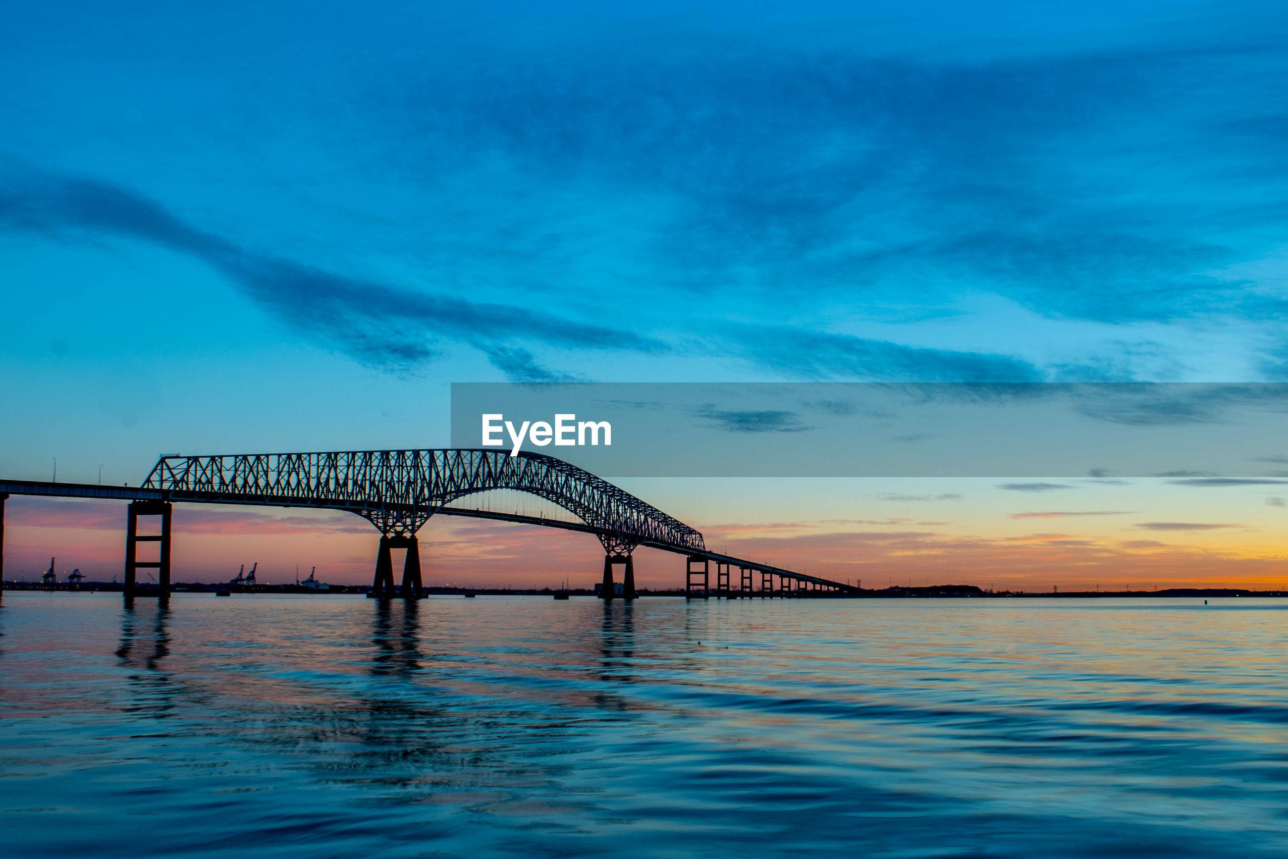 VIEW OF BRIDGE OVER SEA AGAINST SKY