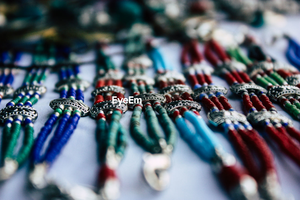 Full frame shot of jewelries for sale at market
