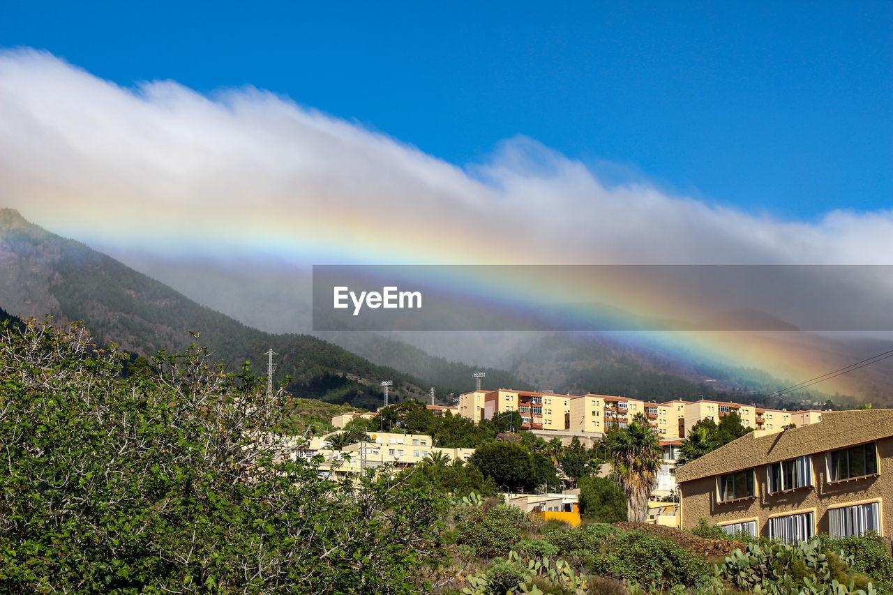 Rainbow over townscape against sky