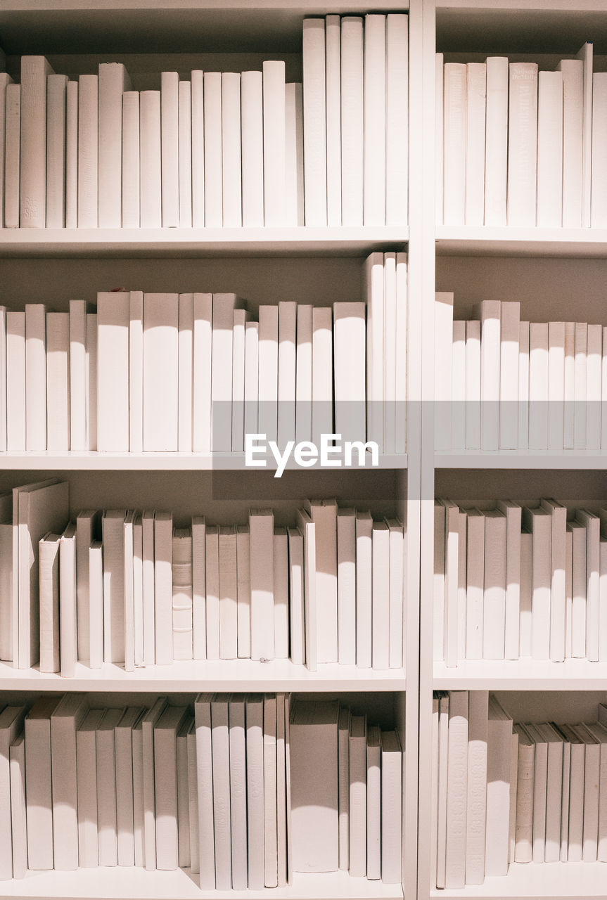 Close-up of books on shelf
