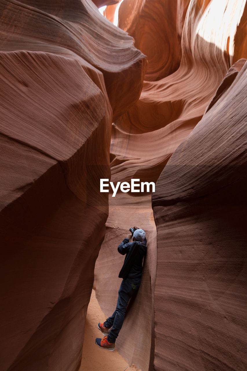 Man Photographing At Lower Antelope Canyon