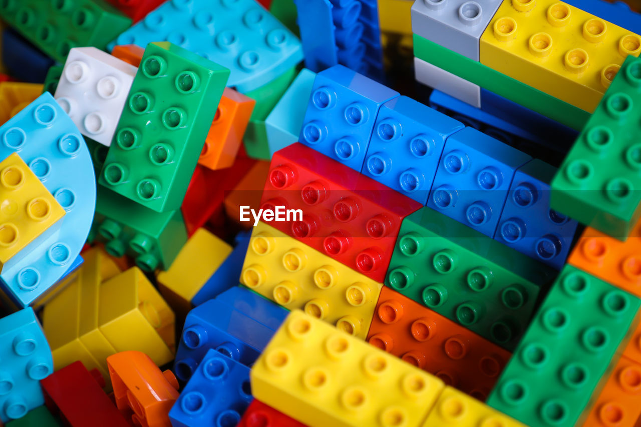 High Angle View Of Colorful Toy Blocks