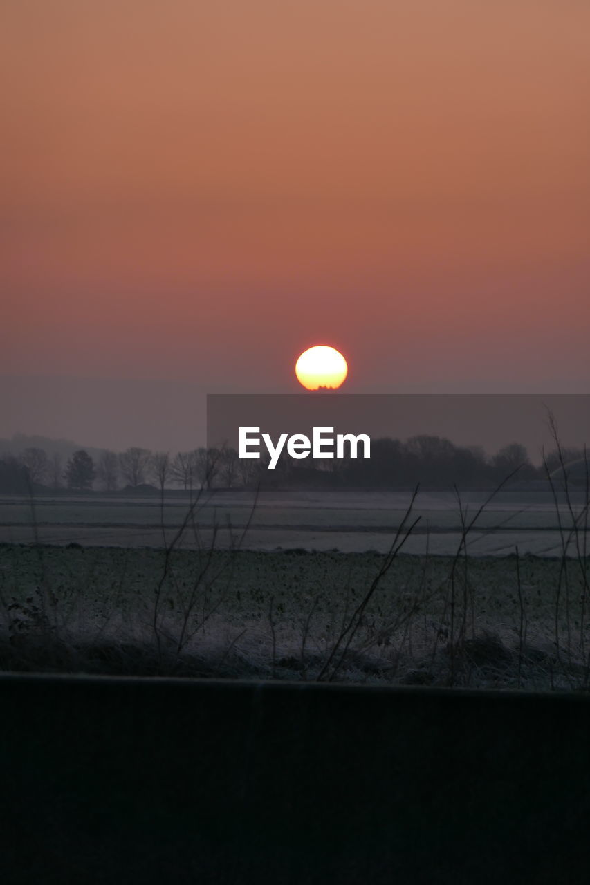 sunset, sun, beauty in nature, orange color, nature, tranquil scene, scenics, tranquility, sky, no people, field, outdoors, silhouette, landscape, growth, fog, rural scene, day