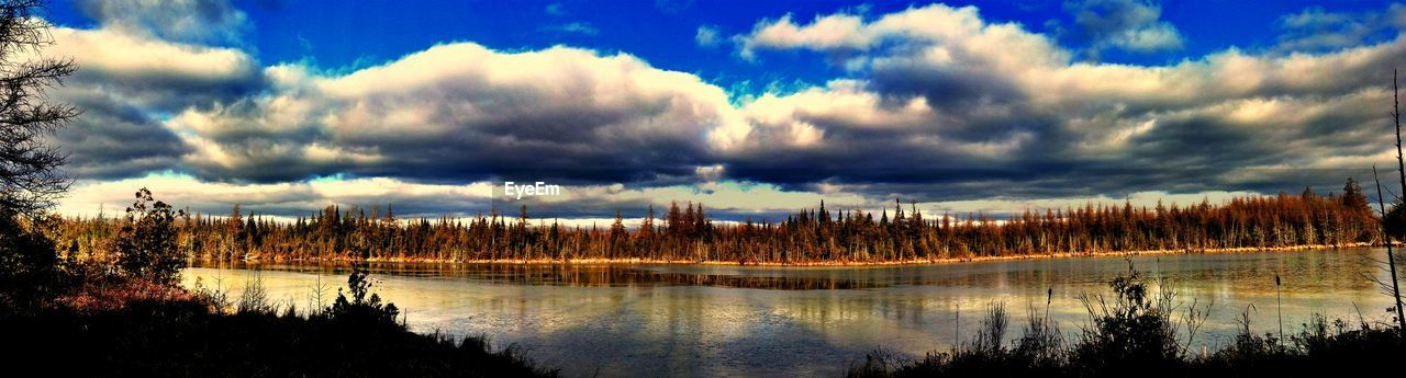 sky, scenics, beauty in nature, tranquility, tranquil scene, cloud - sky, nature, tree, reflection, lake, no people, water, outdoors, idyllic, travel destinations, day, forest, landscape