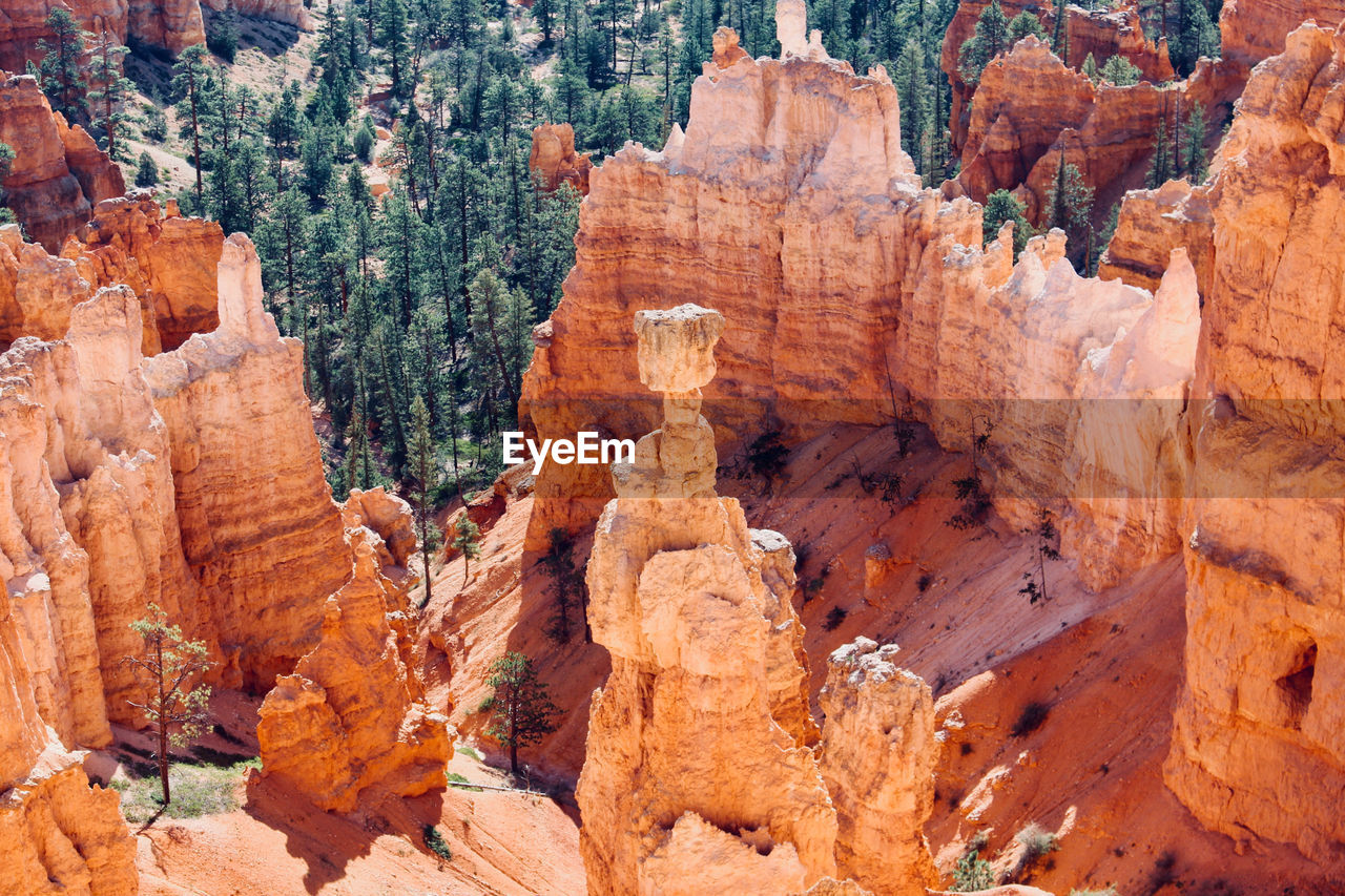 High Angle View Of Rock Formations At Desert