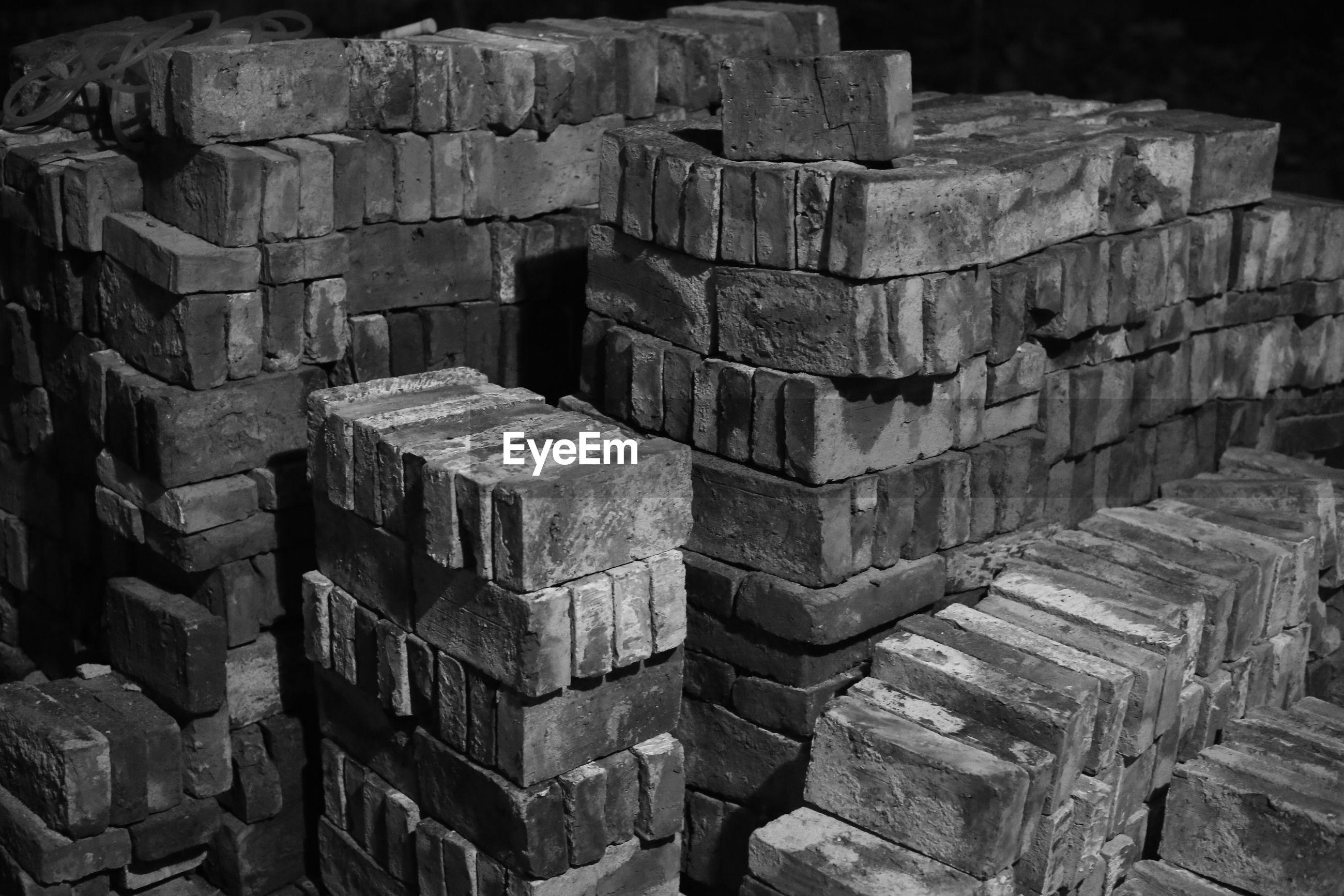 Full frame shot of stacked bricks