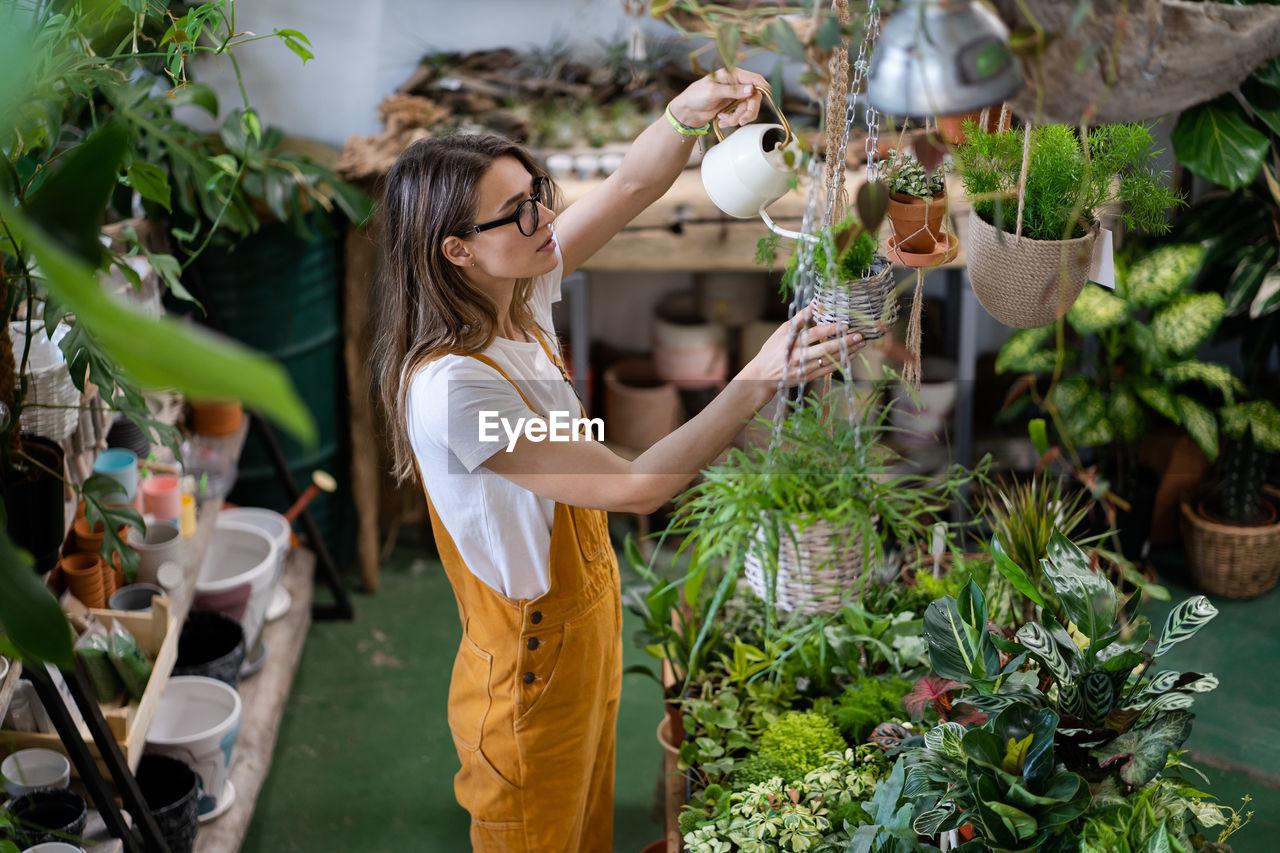 Florist working in shop
