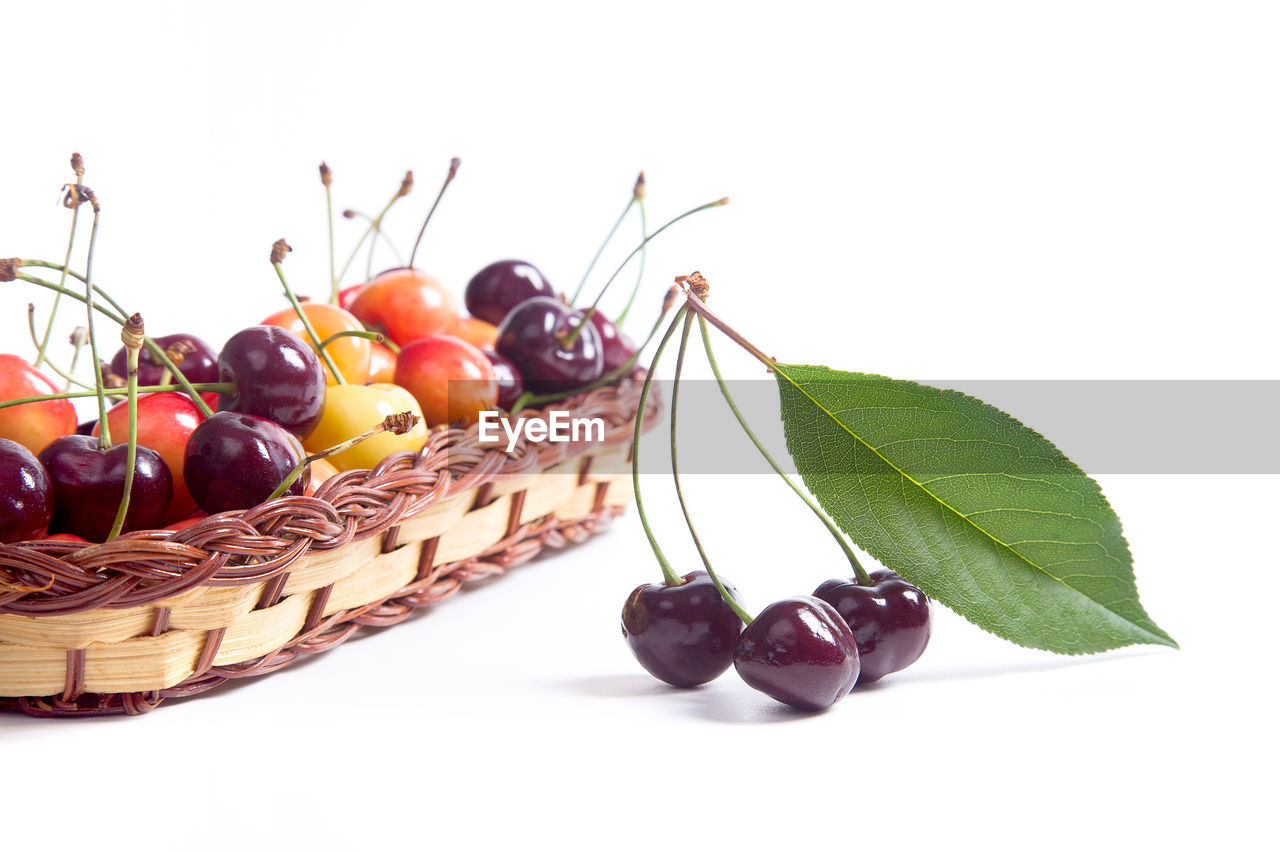 fruit, food, food and drink, healthy eating, leaf, plant part, freshness, basket, wellbeing, close-up, container, white background, still life, studio shot, no people, indoors, nature, ripe, cherry, plant, purple
