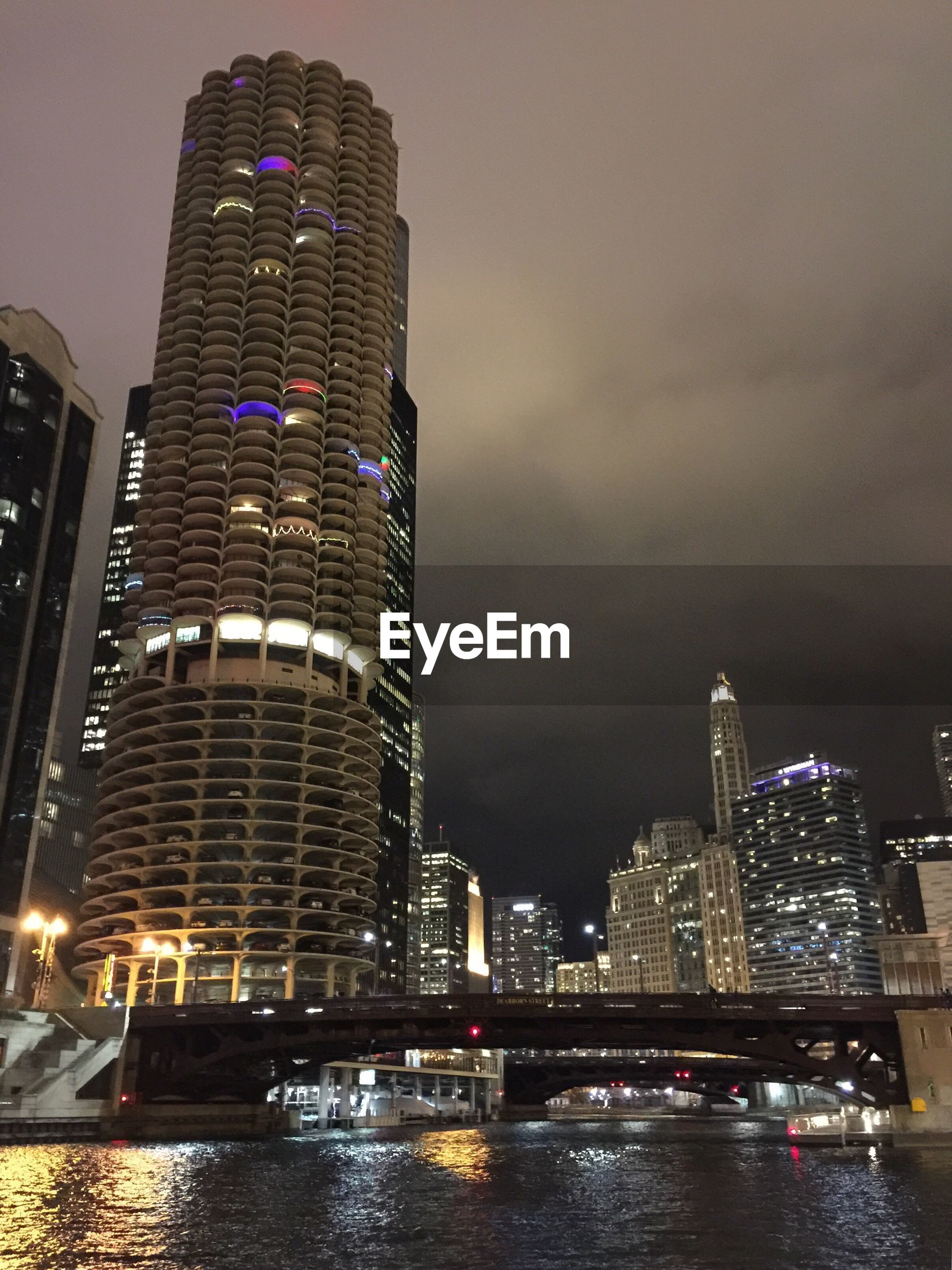 SKYSCRAPERS LIT UP AT NIGHT