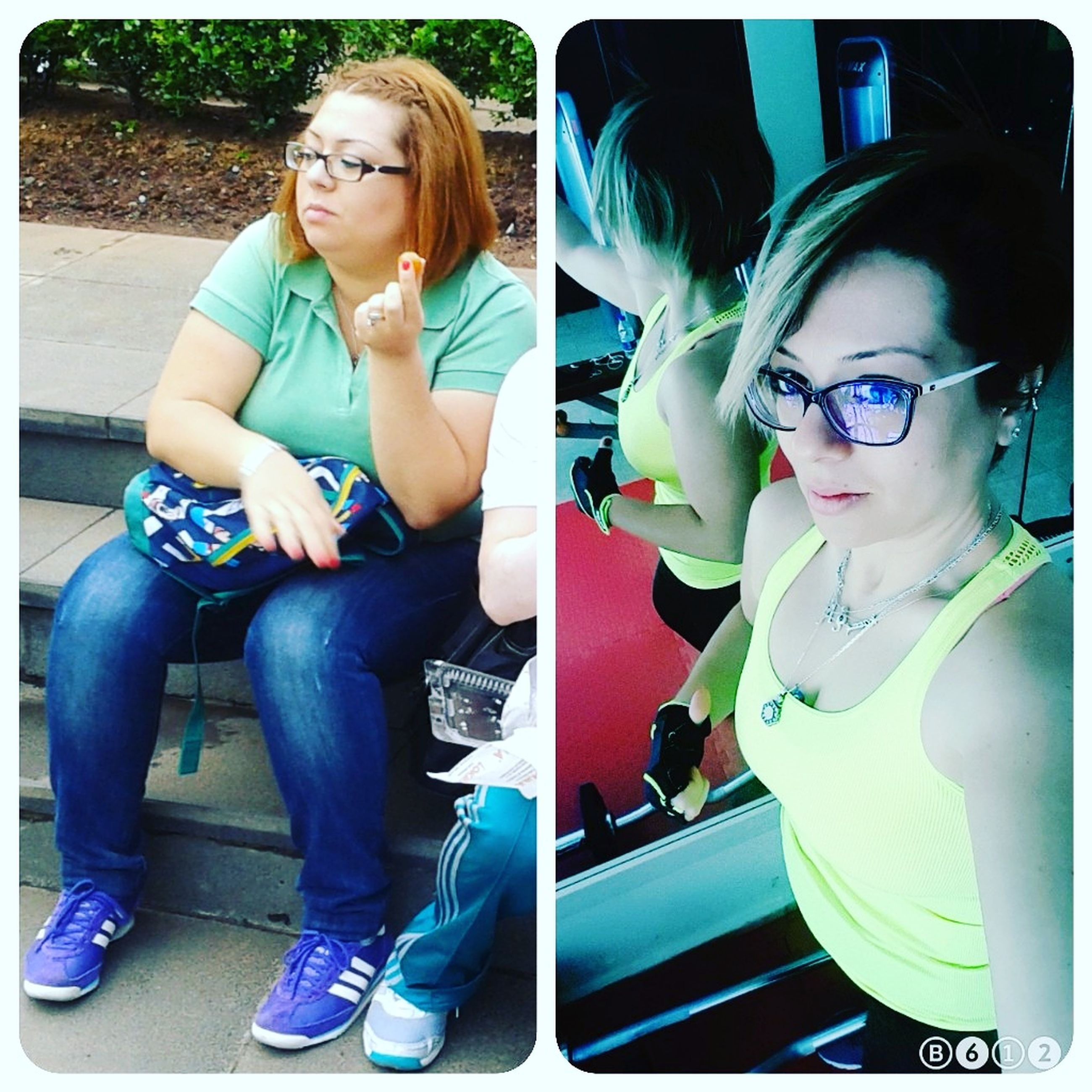 sitting, young adult, young women, real people, casual clothing, eyeglasses, full length, lifestyles, day, multiple image