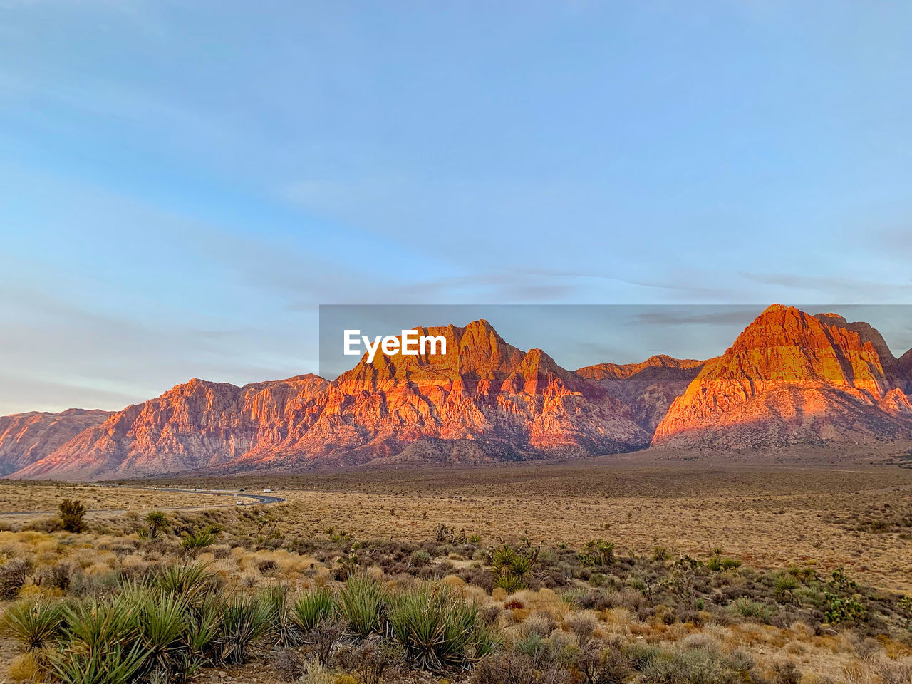 Scenic view of landscape and mountains against sky. red rock canyon, nevada