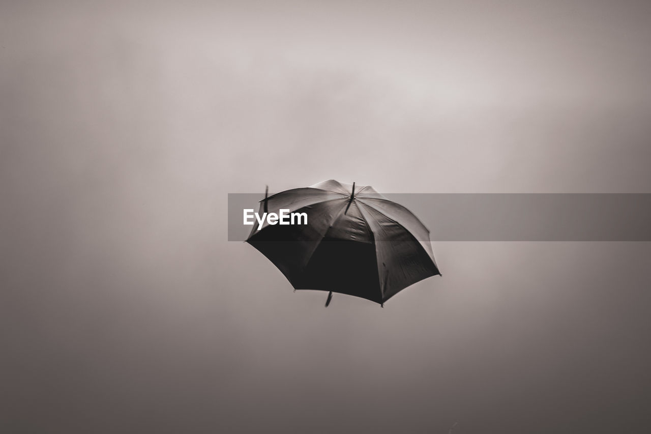 umbrella, no people, protection, nature, single object, outdoors, day, mid-air, security, copy space, flying, sky, tranquility, animal themes, close-up, paper, low angle view, gray