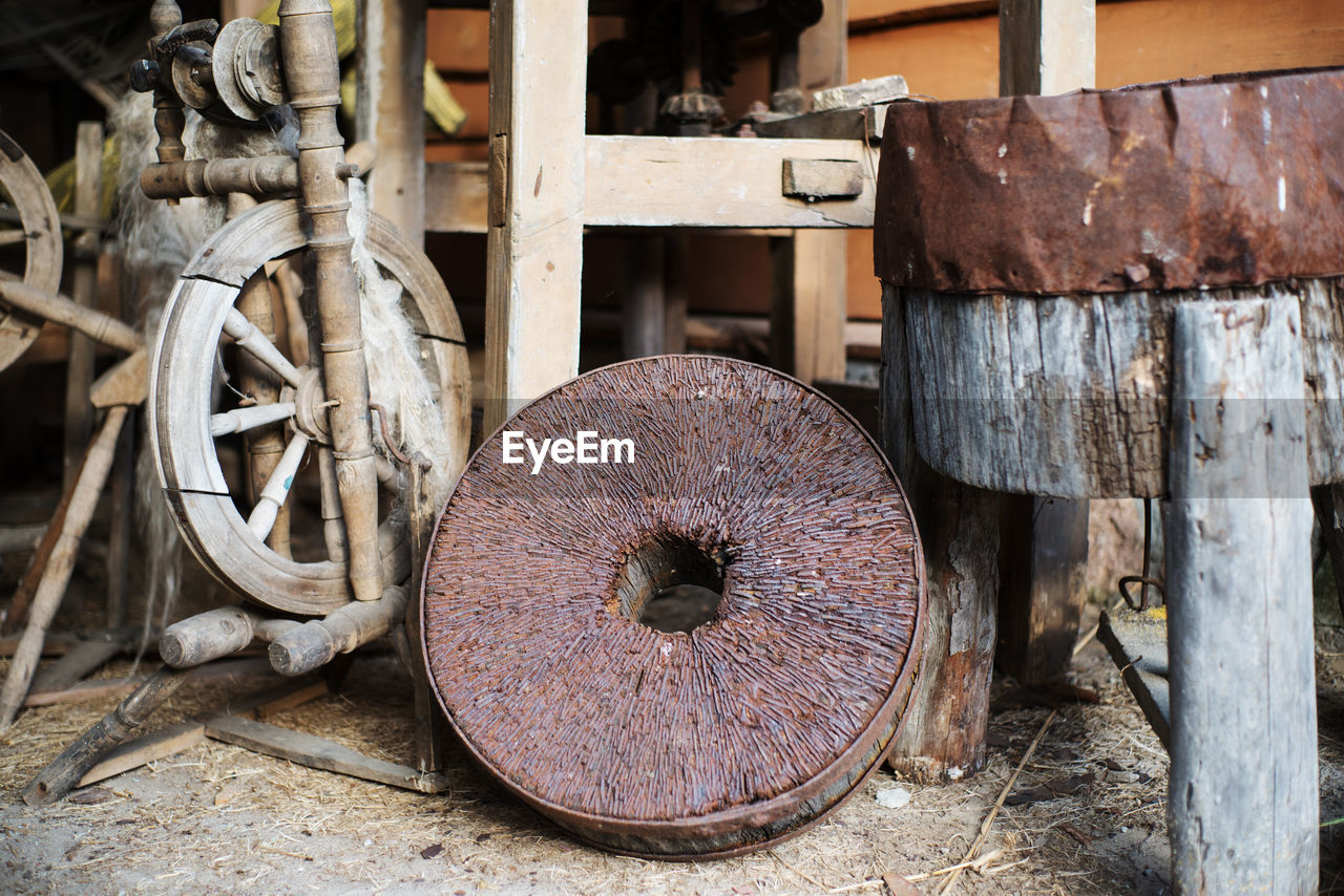 Close-Up Of Old Rusty Metal Wheel Outdoors