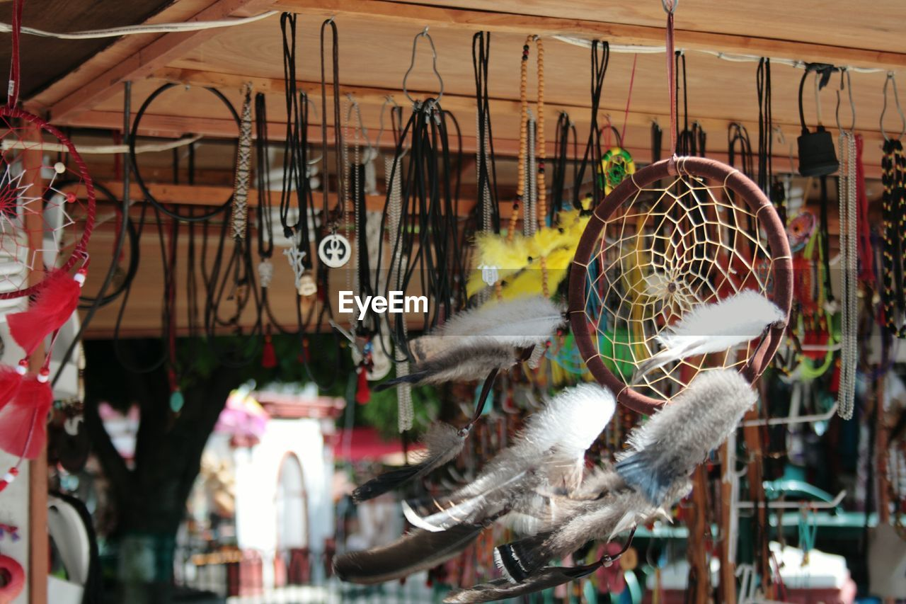Dreamcatcher And Other Decorations Hanging In Shop For Sale