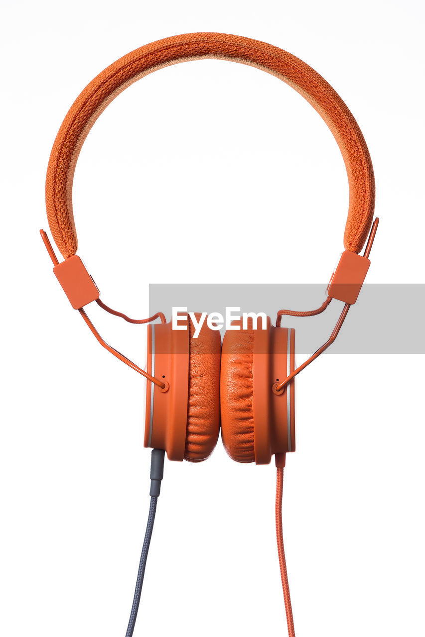 Close-up of headphones against white background