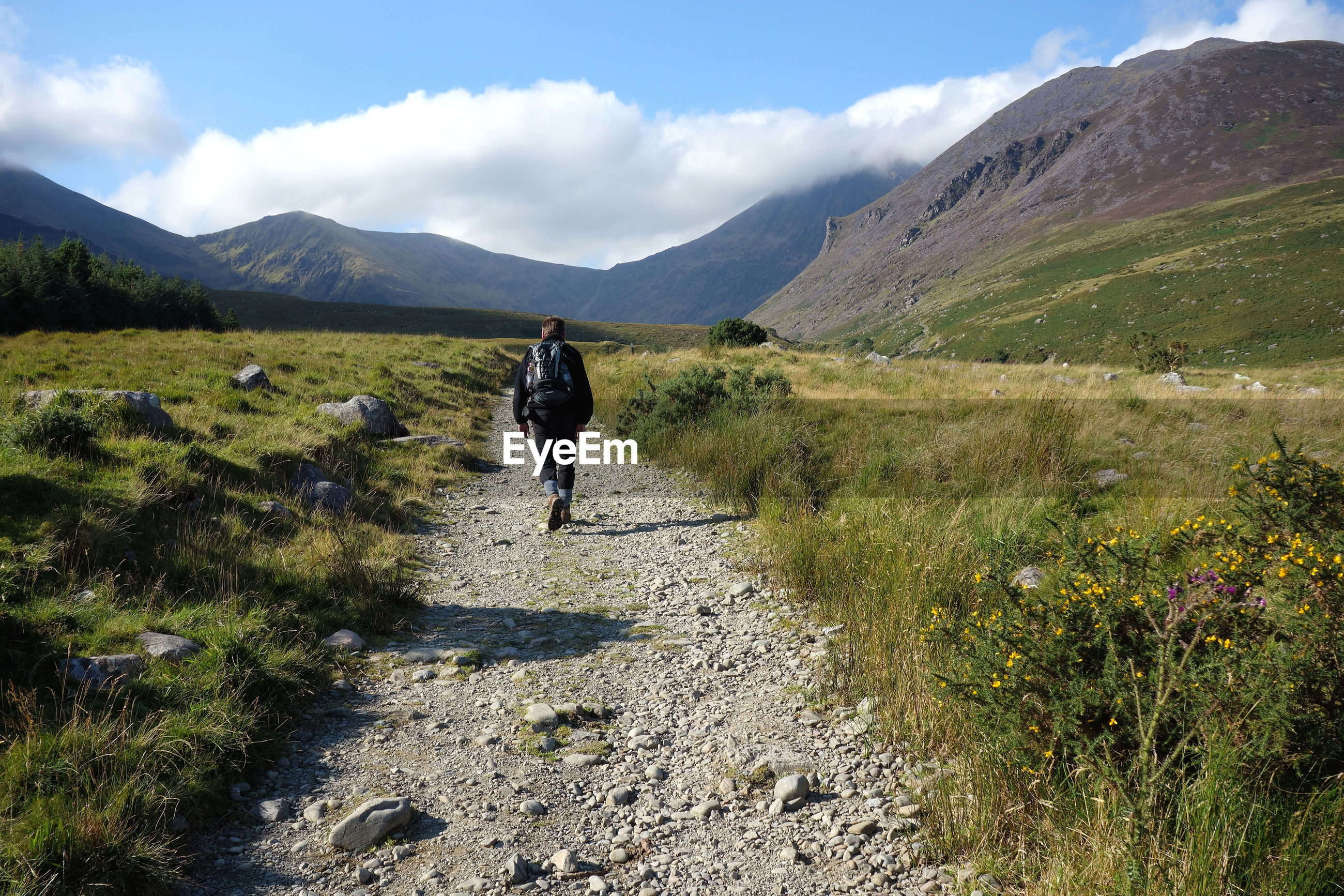 Rear view of man walking on trail leading towards mountains against sky
