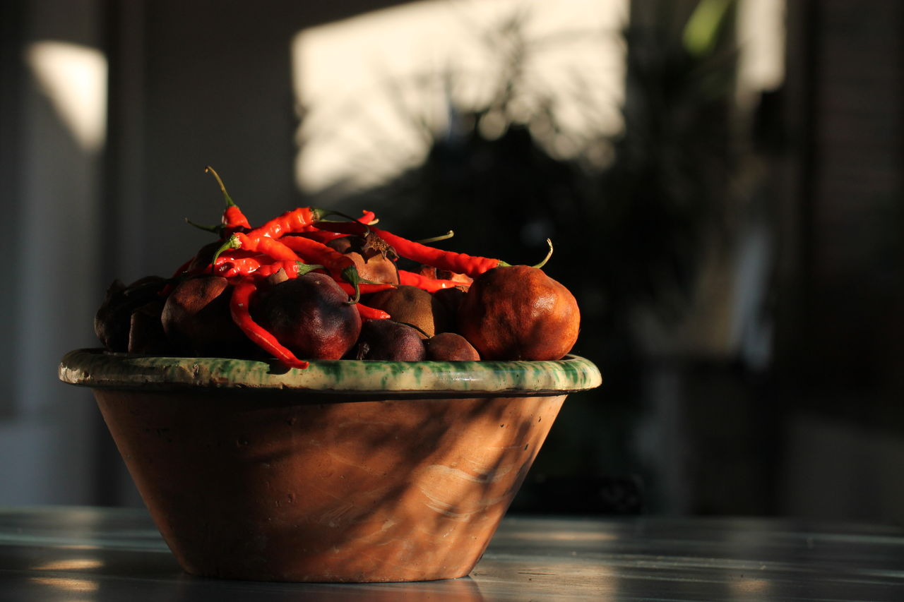Close-Up Of Chilies In Bowl