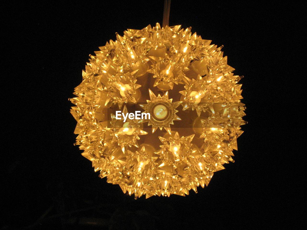 illuminated, night, glowing, celebration, gold colored, black background, christmas decoration, no people, studio shot, indoors, close-up