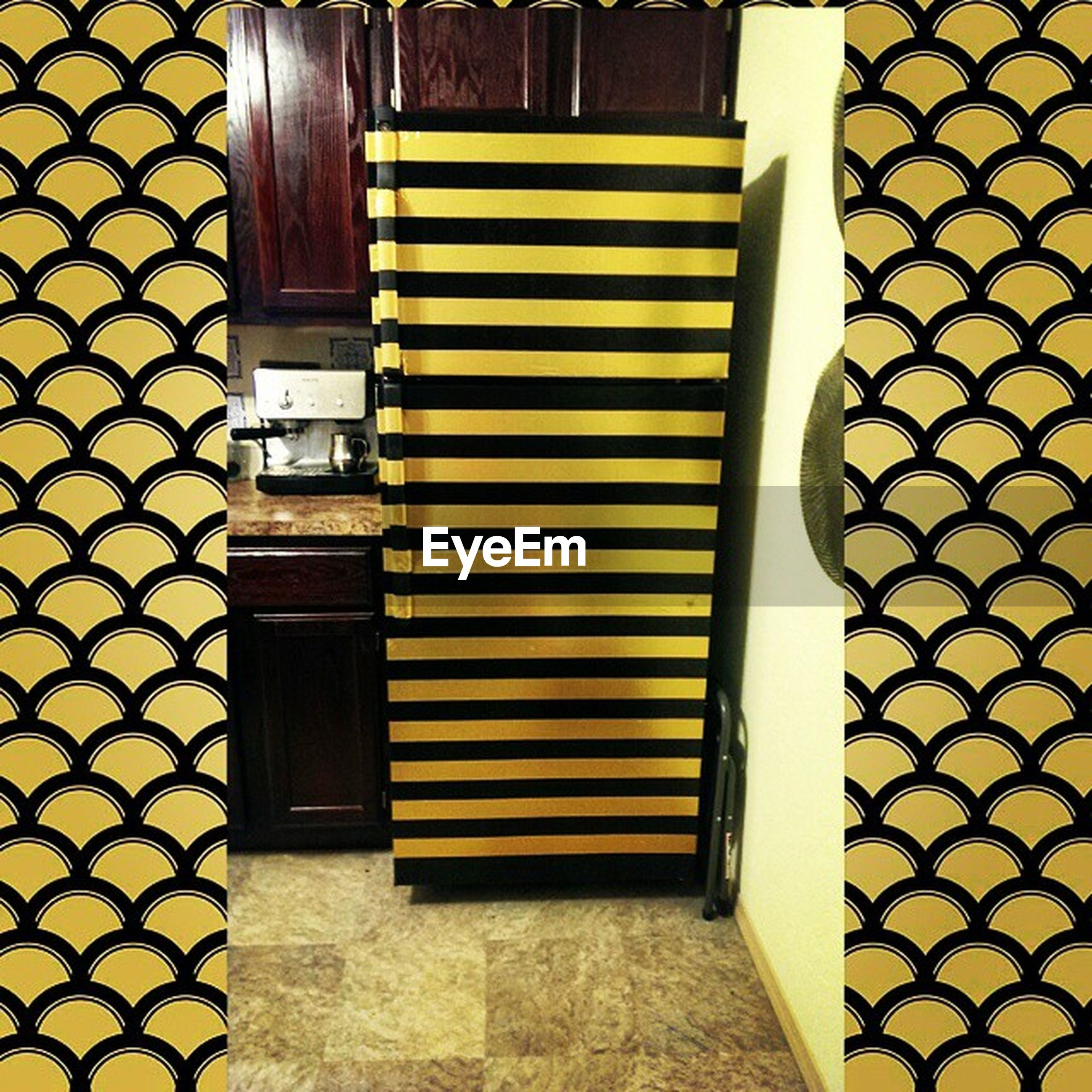 built structure, closed, architecture, building exterior, yellow, door, pattern, wall - building feature, safety, protection, metal, wall, brick wall, security, no people, house, outdoors, tile, day, window