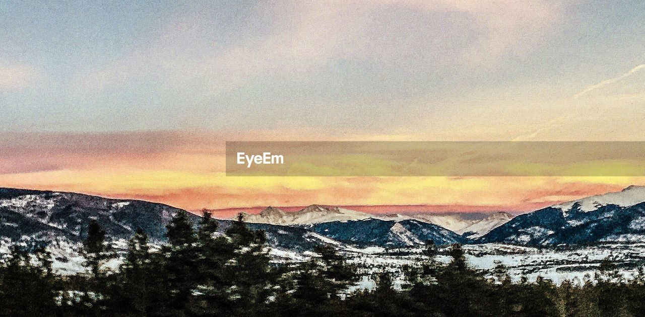 sky, mountain, scenics - nature, cloud - sky, beauty in nature, sunset, mountain range, tranquil scene, tranquility, nature, no people, environment, cold temperature, tree, winter, landscape, water, non-urban scene, plant, outdoors, snowcapped mountain, mountain peak