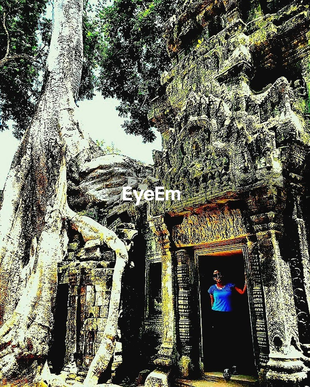 tree, real people, built structure, architecture, spirituality, one person, building exterior, men, day, religion, place of worship, rear view, ancient, outdoors, tree trunk, growth, nature, lifestyles, standing, full length, ancient civilization, beauty in nature, people
