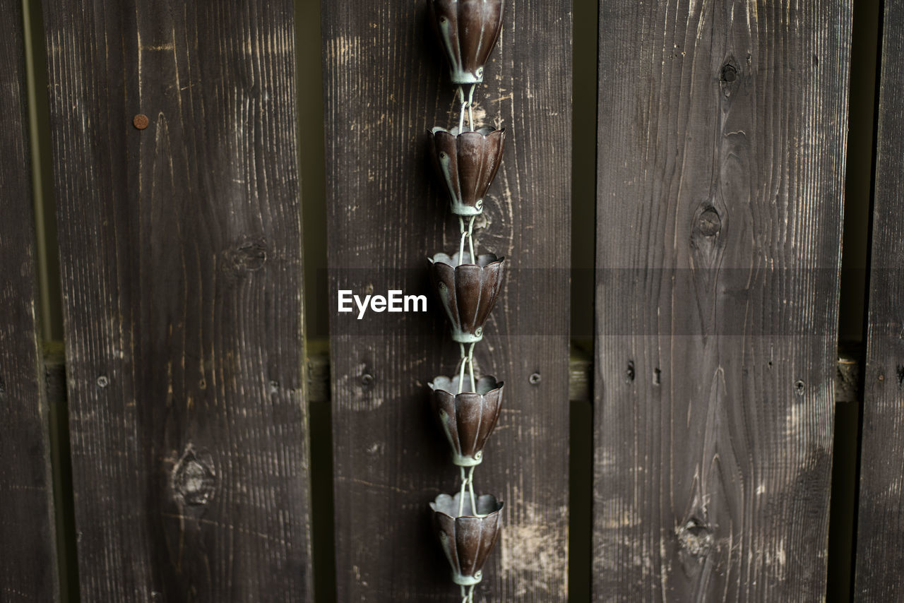 Close-up of decoration by wooden fence