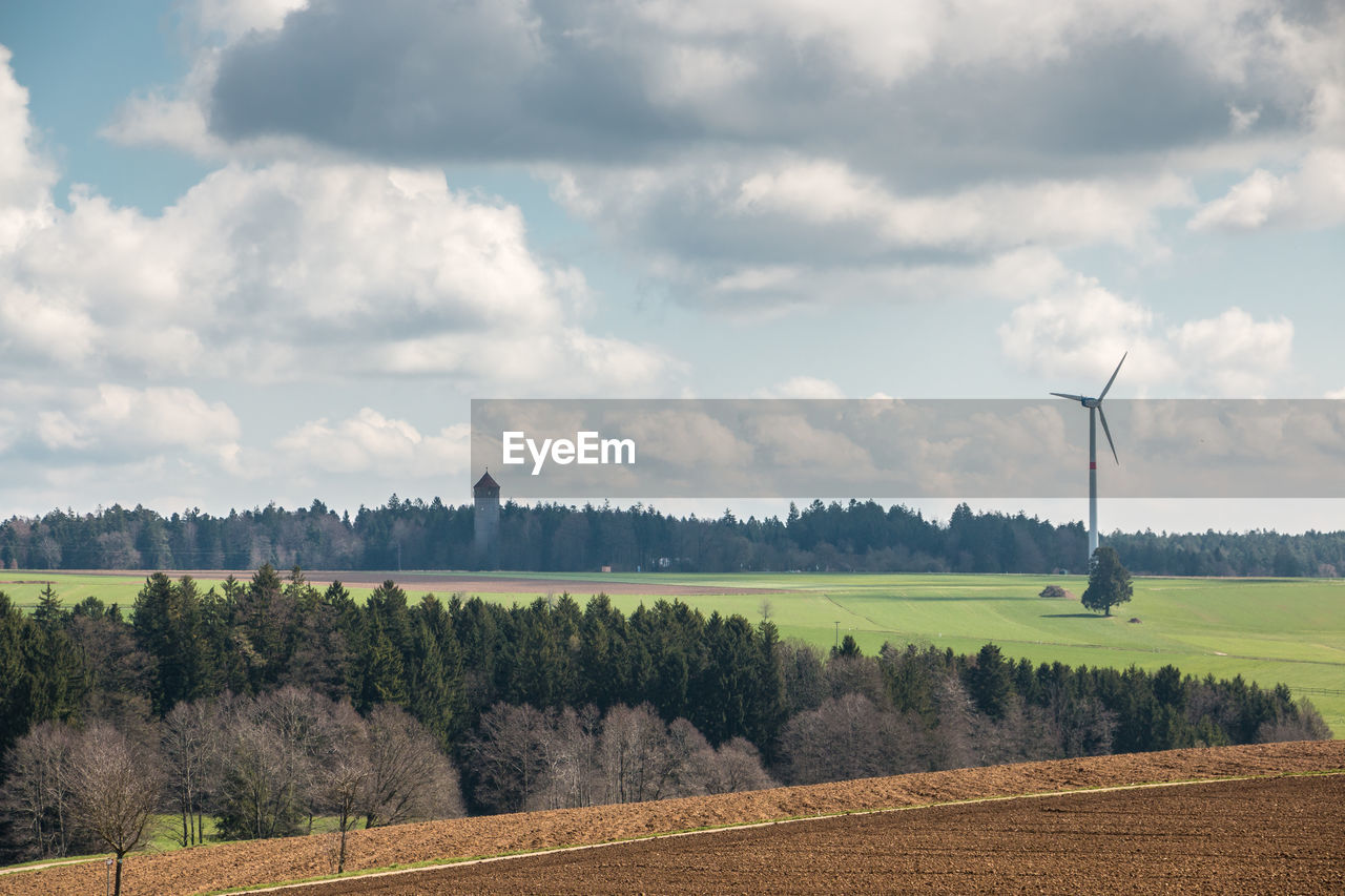 environment, landscape, cloud - sky, sky, tree, plant, field, land, scenics - nature, turbine, beauty in nature, tranquil scene, wind turbine, renewable energy, tranquility, fuel and power generation, nature, alternative energy, growth, environmental conservation, no people, outdoors