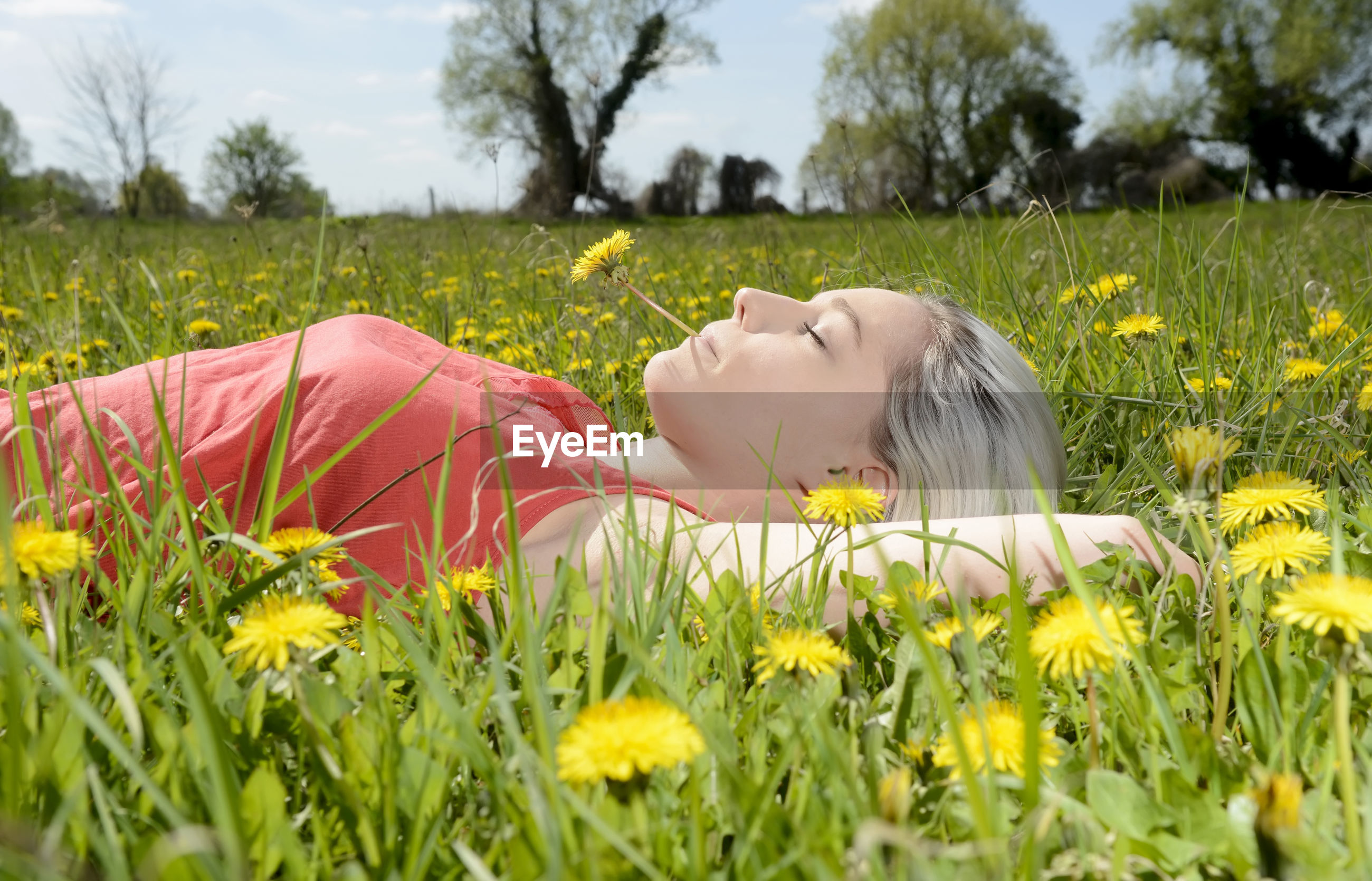 Side view of woman lying while holding yellow flower in mouth against sky