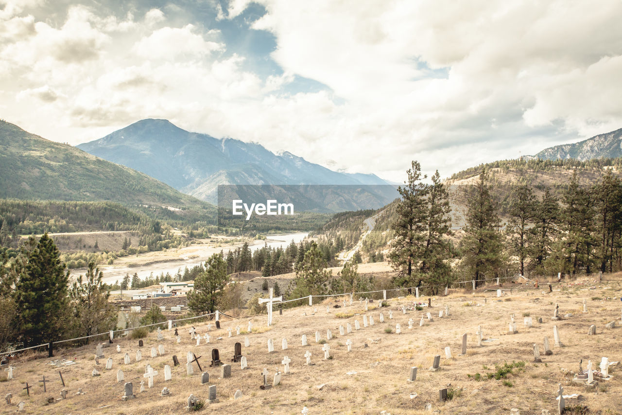 View Of Cemetery With Mountains In Background