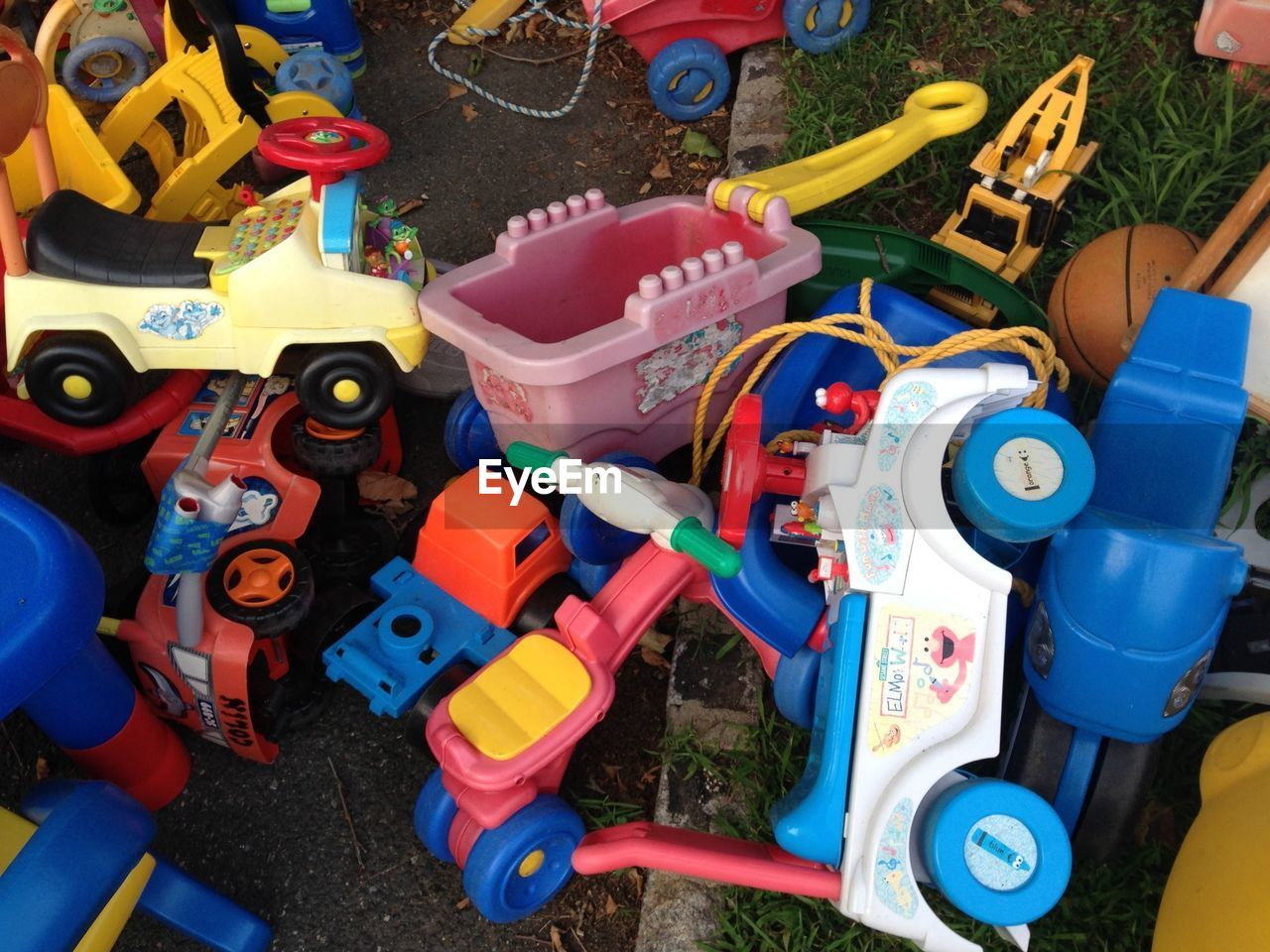 toy, high angle view, childhood, multi colored, no people, outdoors, day, toy car, close-up