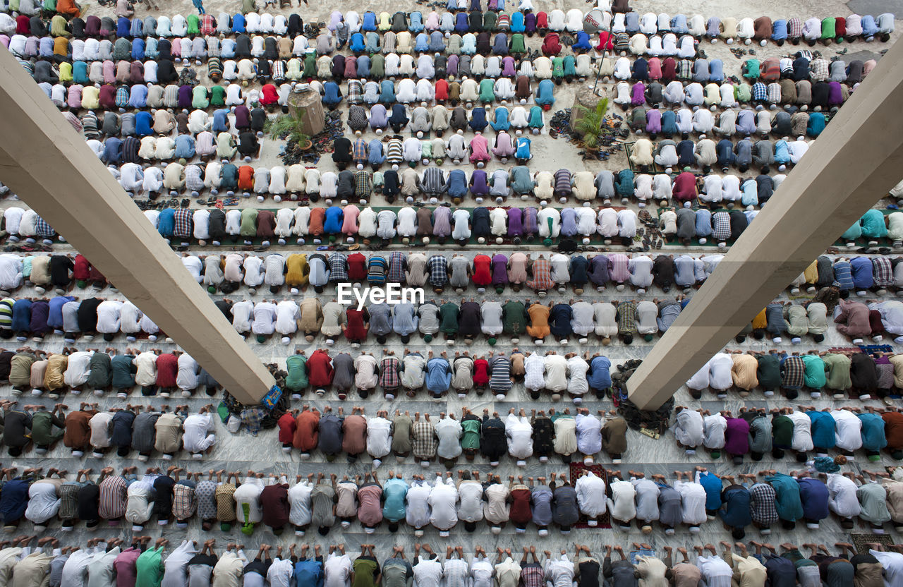Large Group Of Muslim People Praying