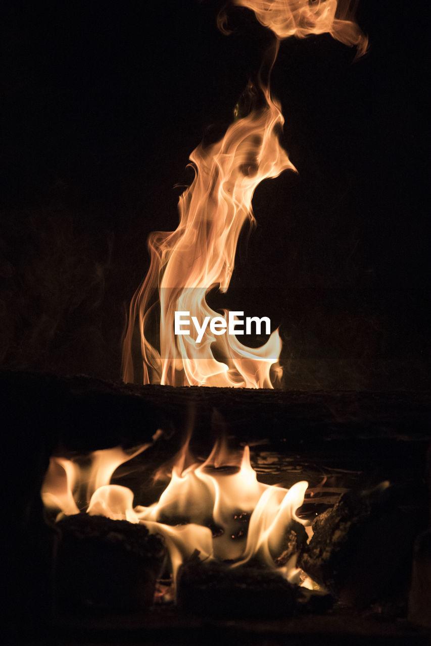fire, flame, burning, fire - natural phenomenon, heat - temperature, motion, night, glowing, nature, orange color, no people, close-up, wood, log, wood - material, long exposure, dark, bonfire, firewood, environment