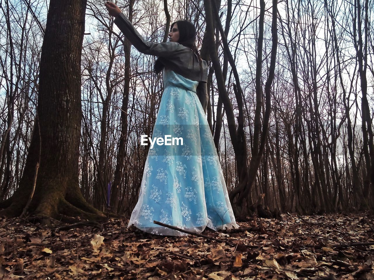 Woman in blue dress standing against bare tree at forest