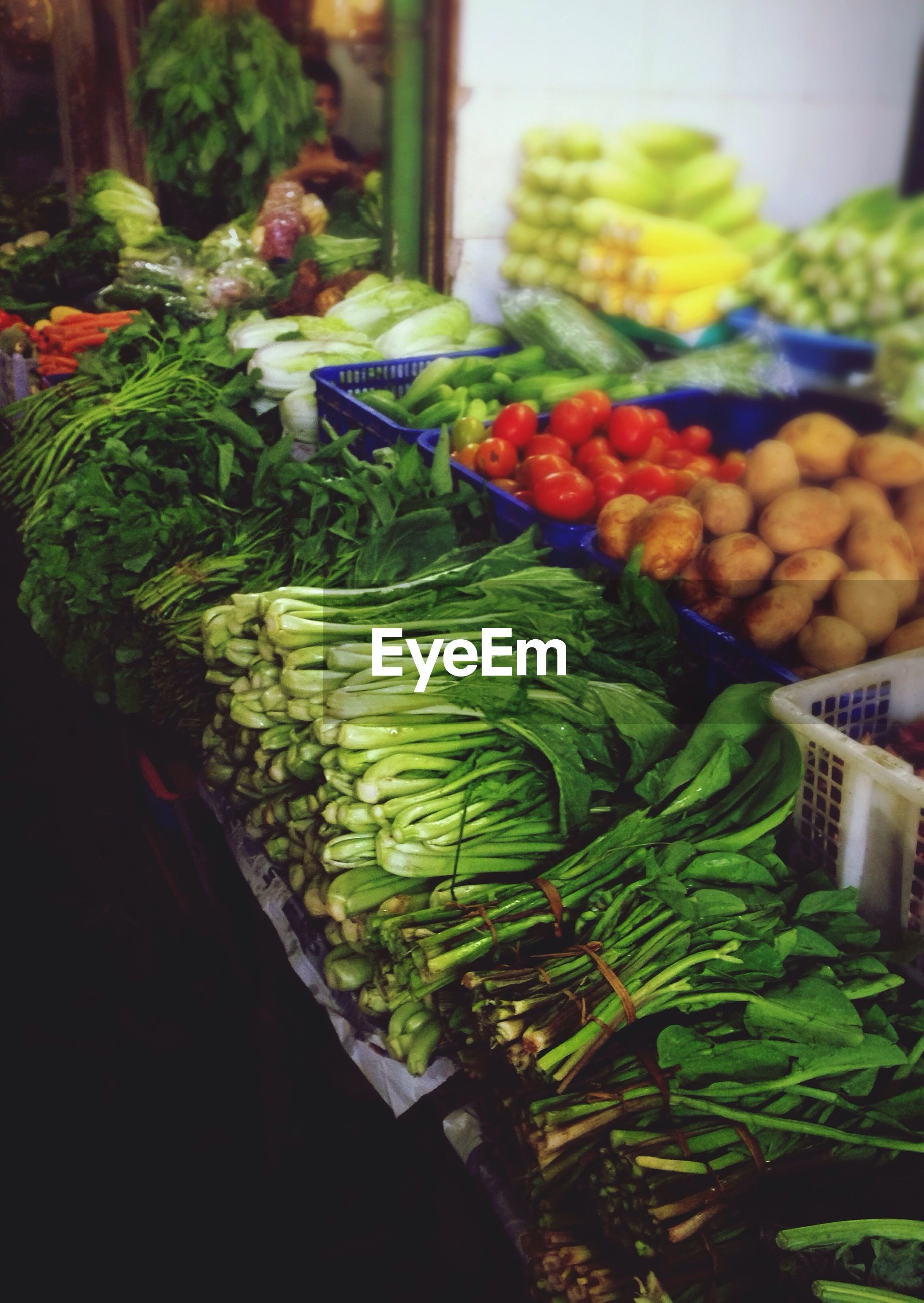 High angle view of vegetables at market for sale