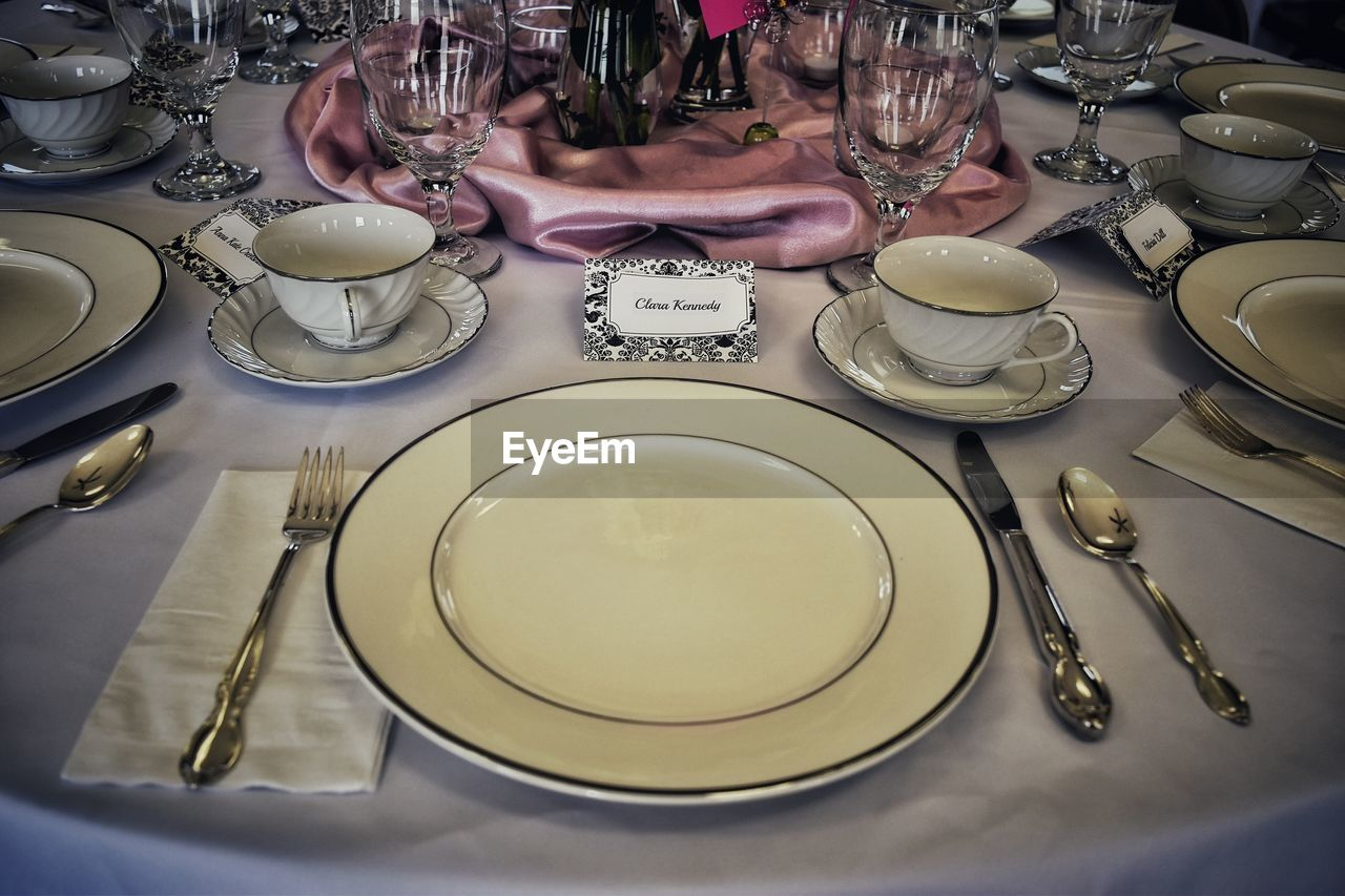 High angle view of empty dining table