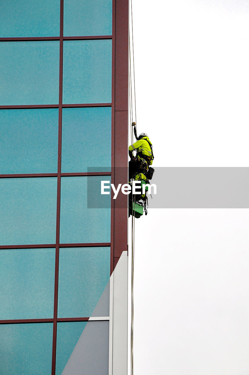 Low angle view of working people on window
