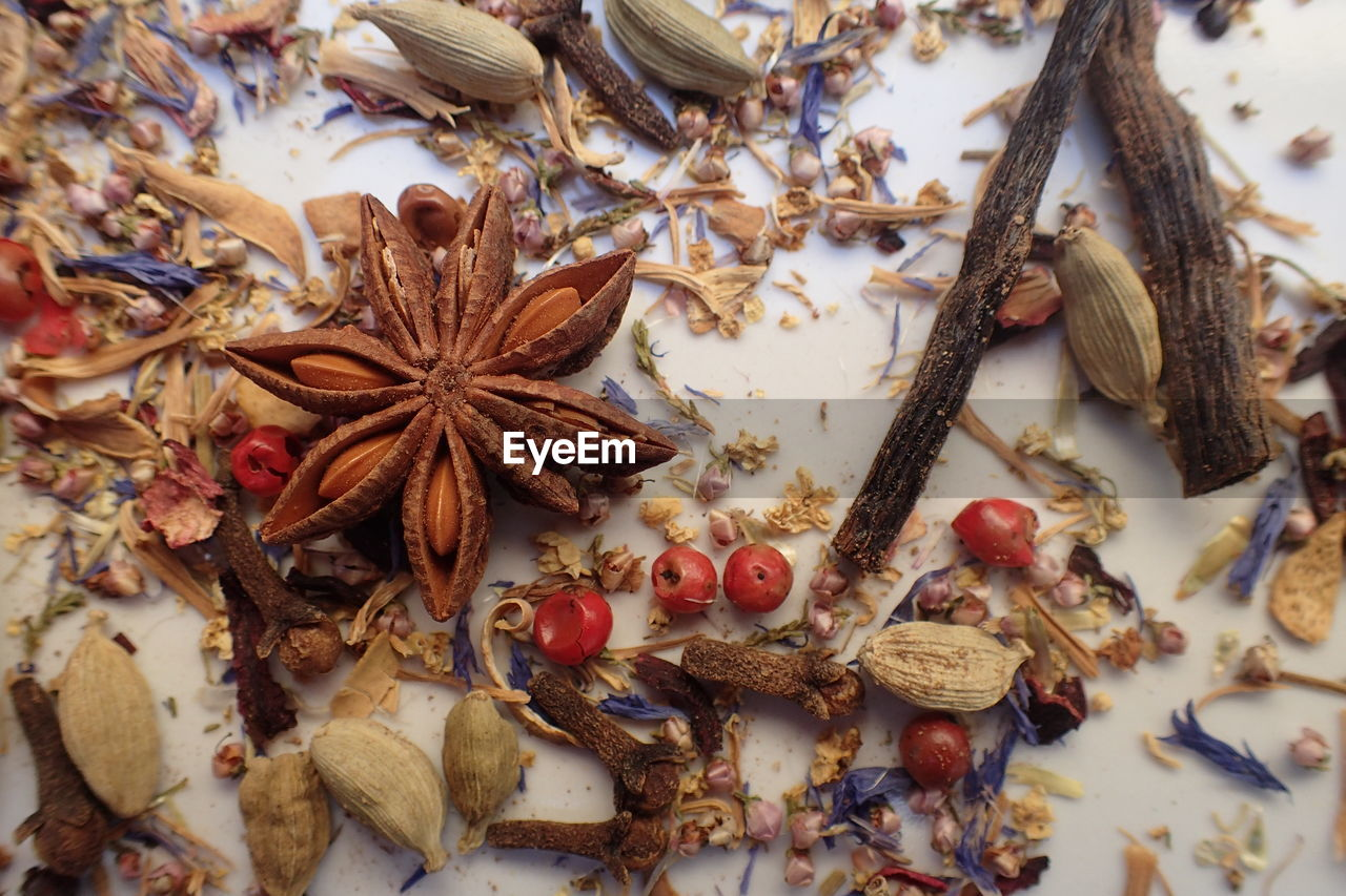 High angle view of spices scattered on table