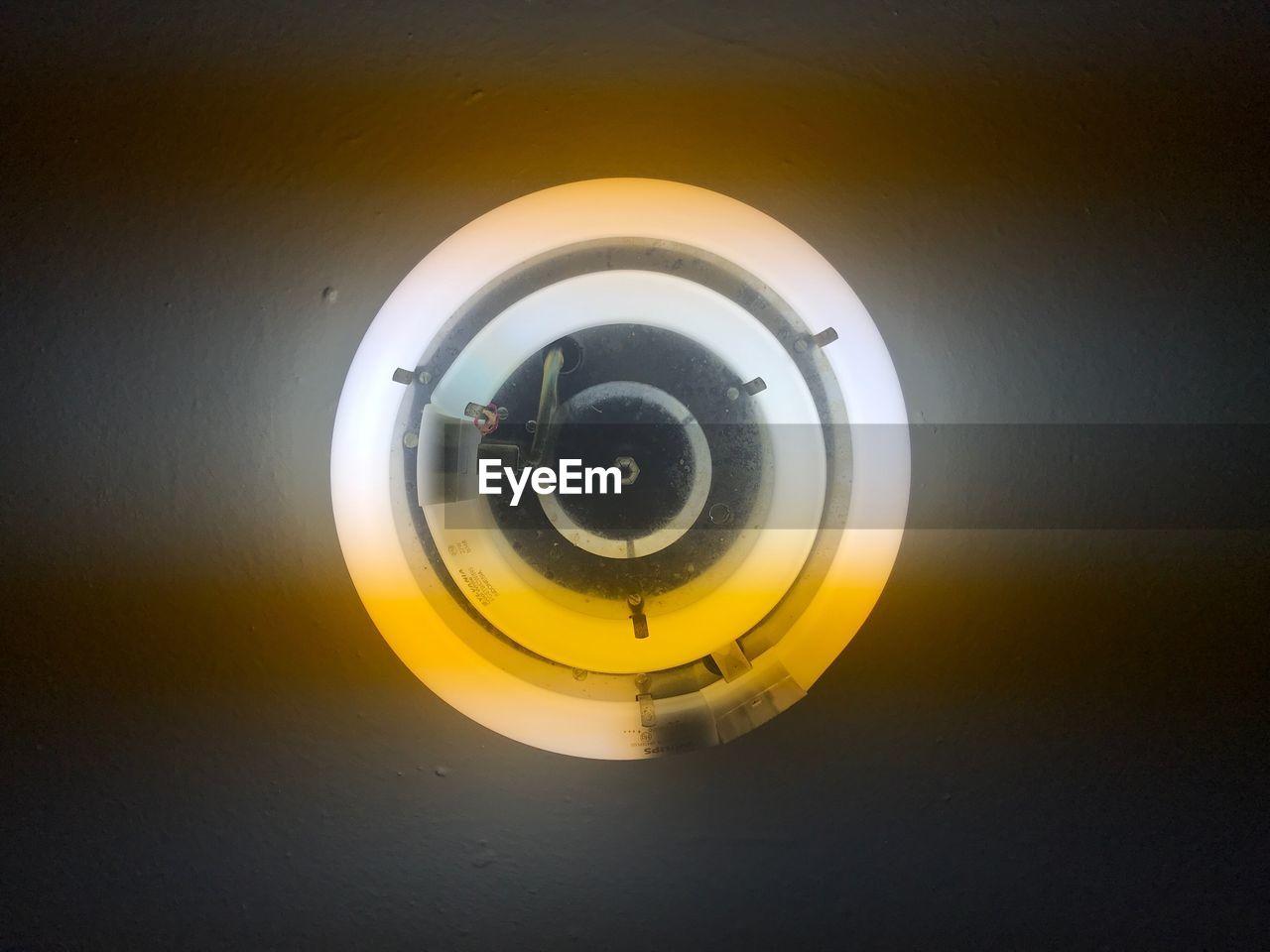 circle, illuminated, yellow, close-up, no people, indoors, technology, day