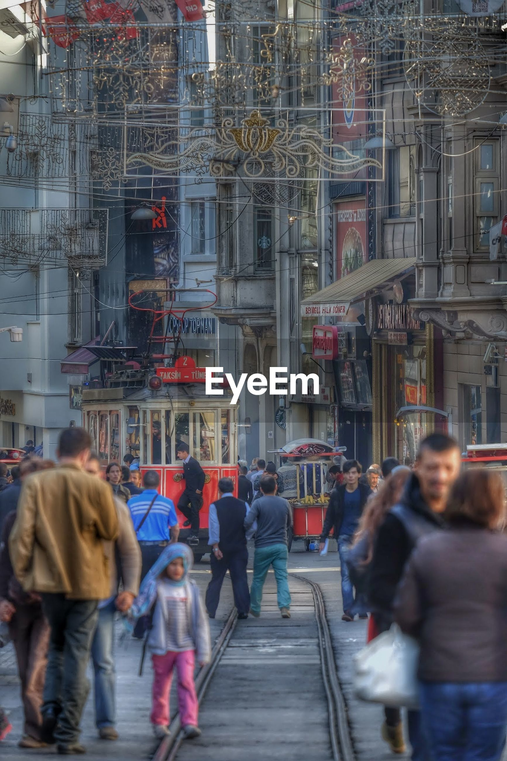 People walking city street