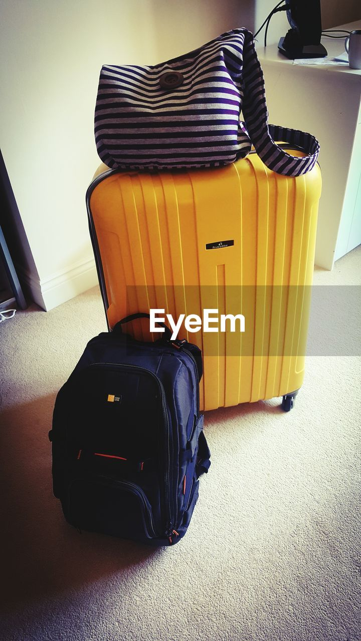 High angle view of luggage at home