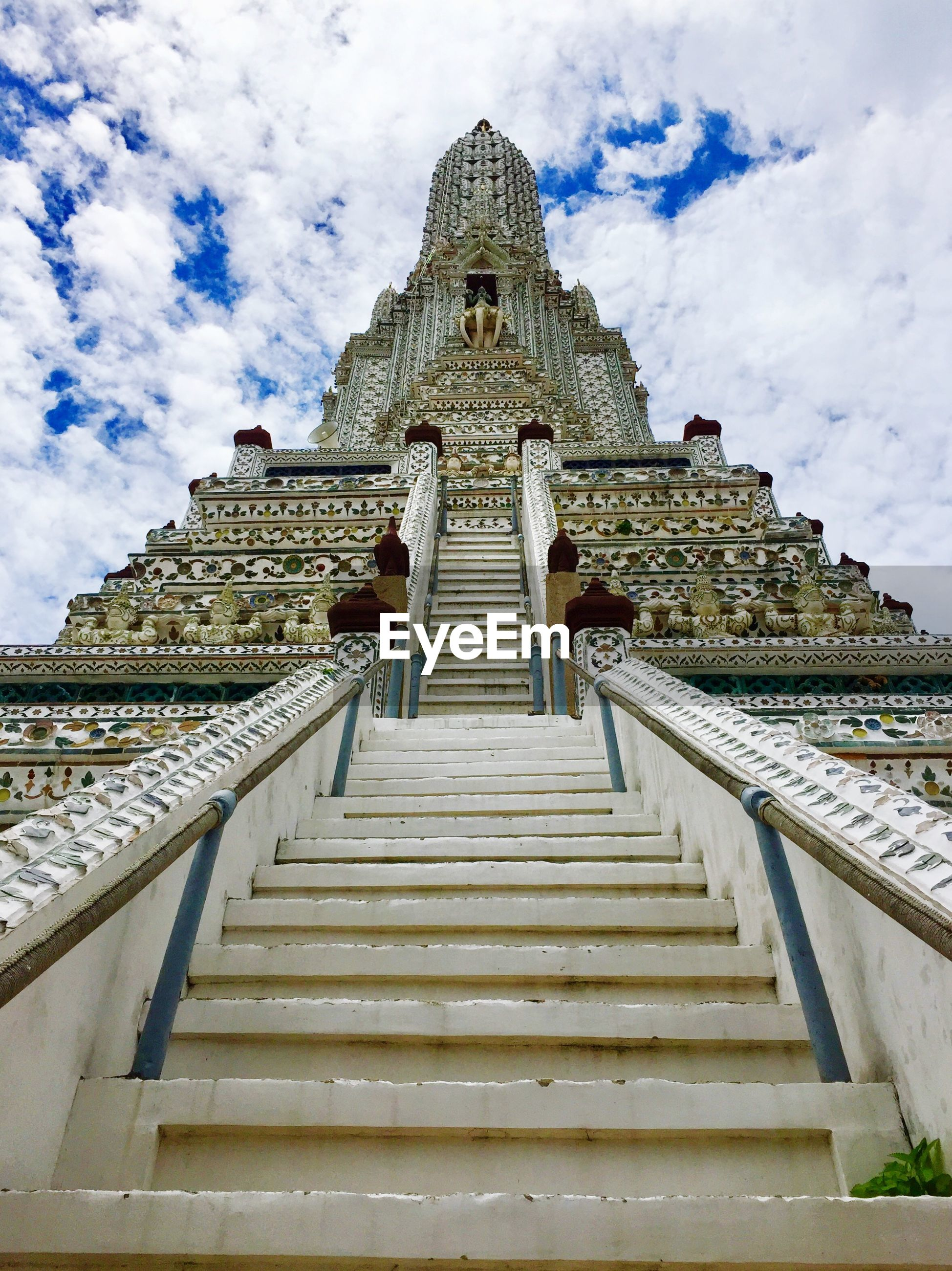 Low angle view of staircase of building against sky
