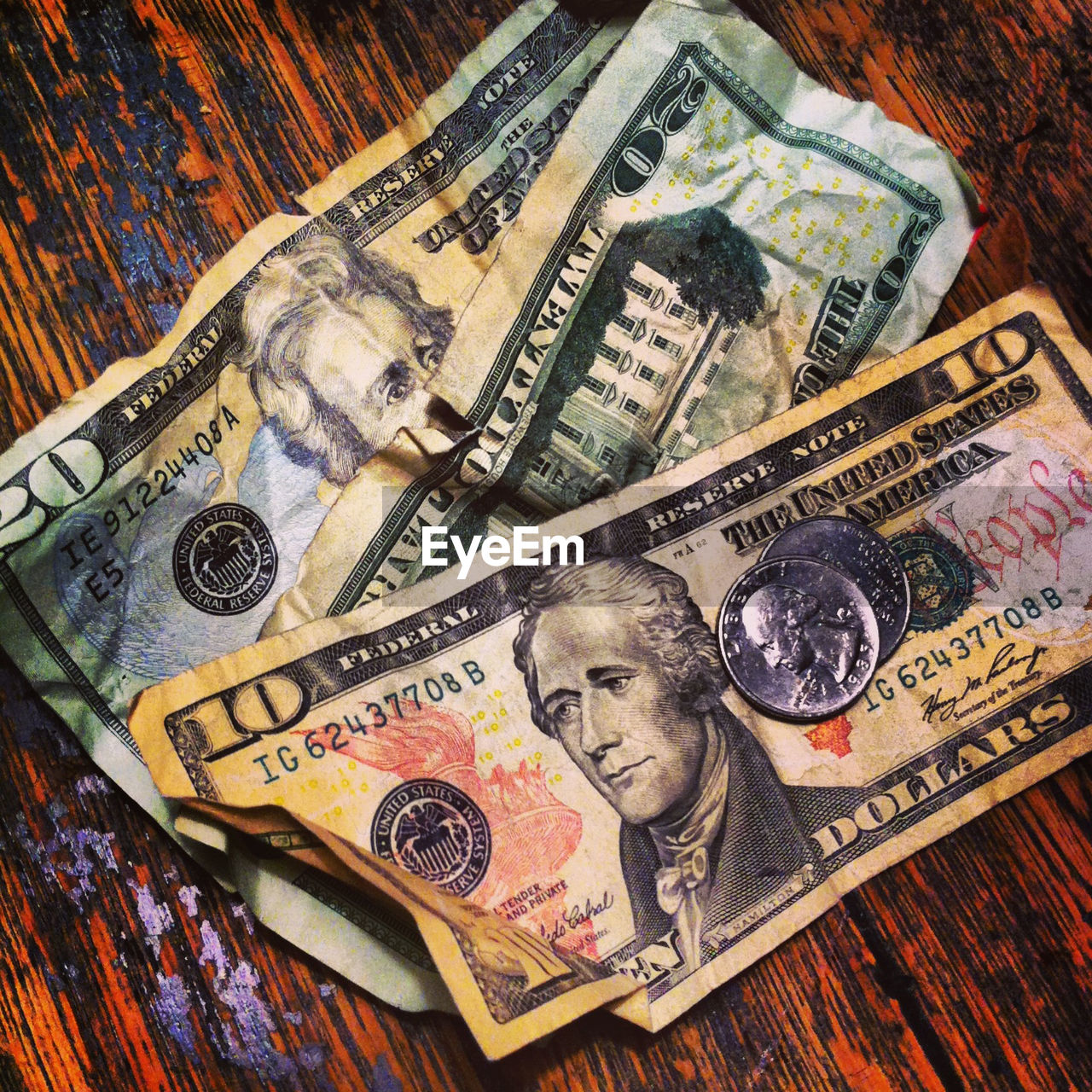 Close-Up Of American Dollars On Table