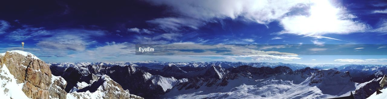 snow, cold temperature, winter, nature, mountain, weather, scenics, beauty in nature, sky, cloud - sky, snowcapped mountain, mountain range, tranquil scene, tranquility, outdoors, blue, landscape, no people, day, sunlight