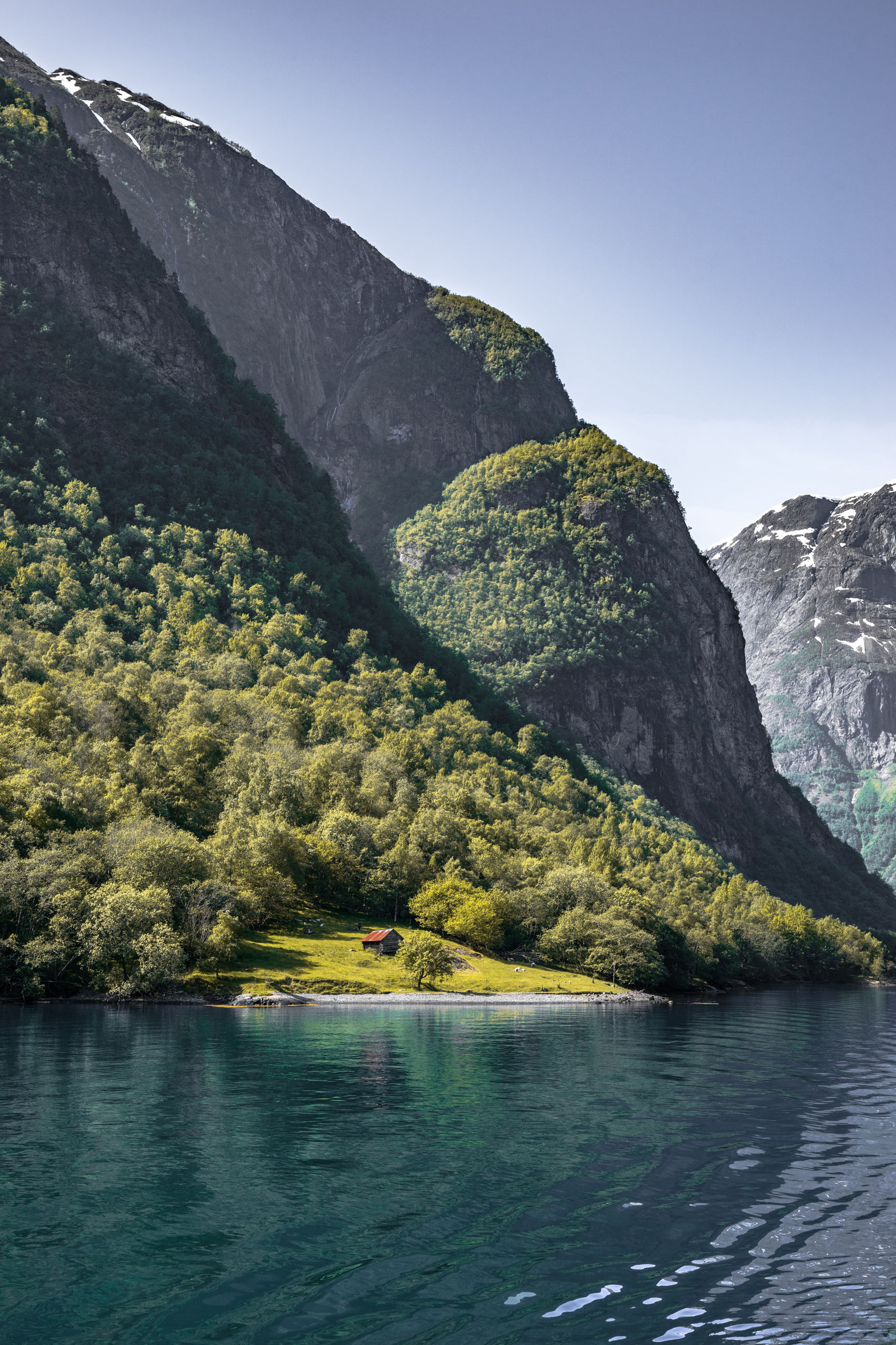 SCENIC VIEW OF RIVER BY TREE MOUNTAINS AGAINST CLEAR SKY