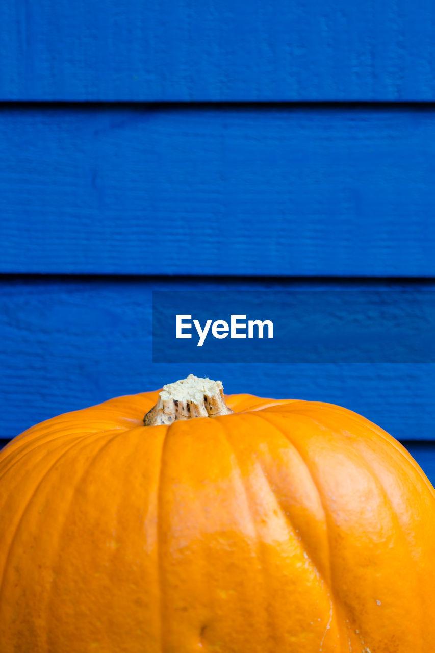 pumpkin, halloween, orange color, no people, vegetable, food and drink, close-up, blue, food, freshness, day, squash - vegetable, outdoors, jack o lantern