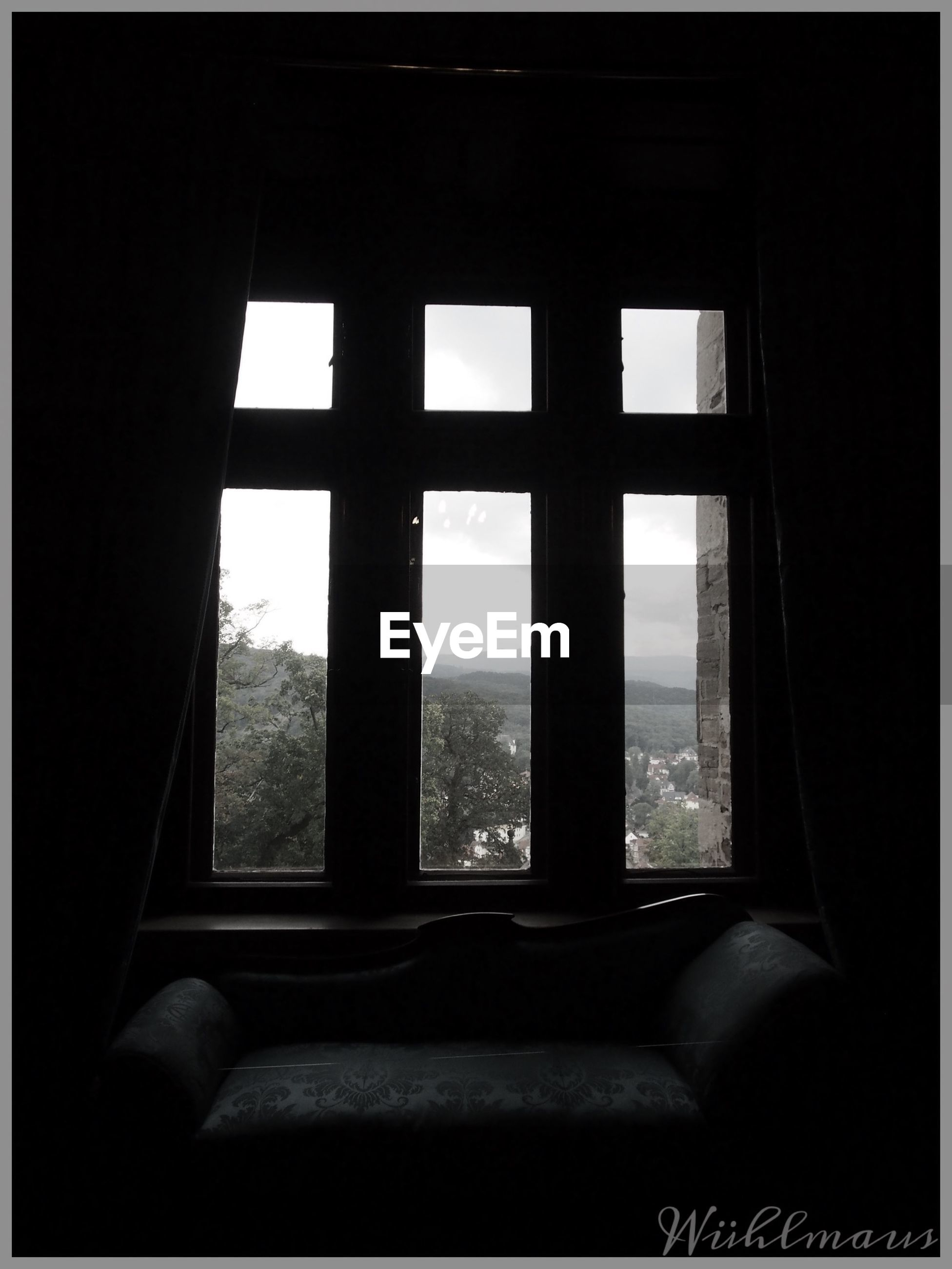 window, indoors, glass - material, transparent, built structure, home interior, architecture, open, sky, sunlight, day, house, looking through window, no people, window frame, curtain, dark, glass, window sill, abandoned