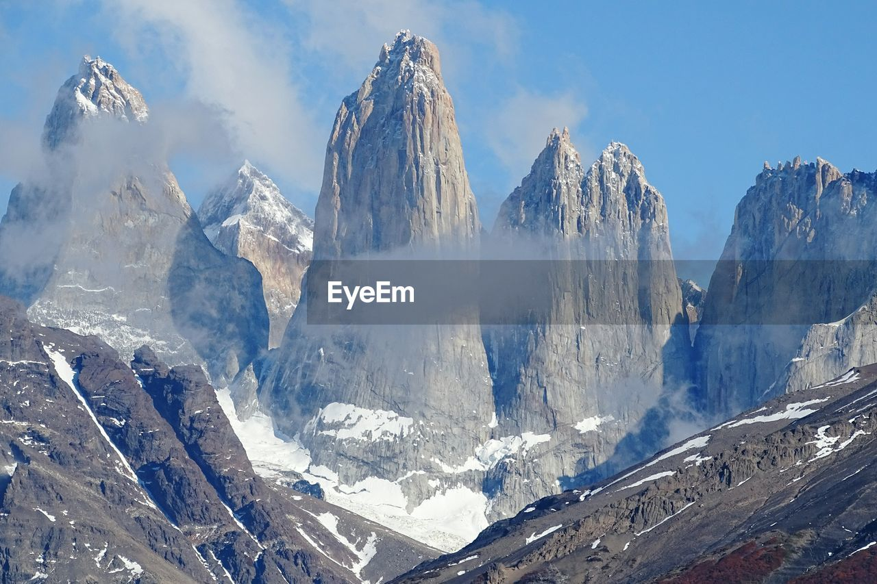 Majestic Snowcapped Mountains At Torres Del Paine National Park