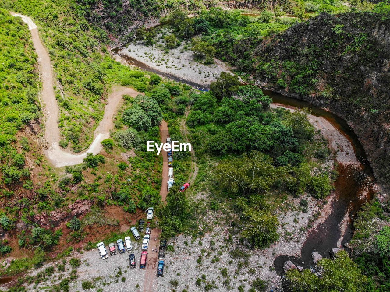 plant, tree, high angle view, road, day, nature, transportation, no people, mode of transportation, motor vehicle, car, land vehicle, outdoors, curve, growth, mountain road, environment, scenics - nature, green color, aerial view